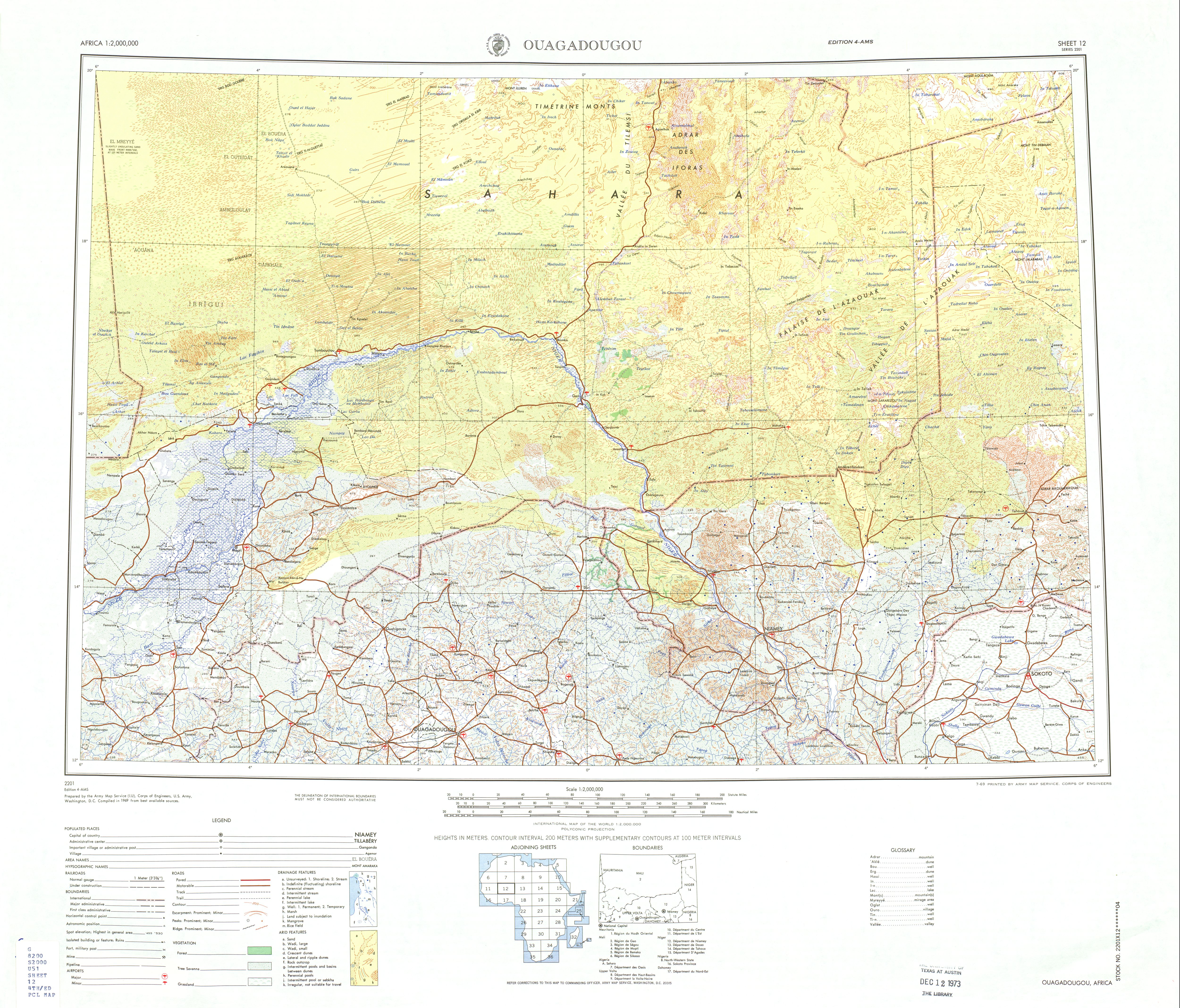 Ouagadougou Topographic Sheet Map, Africa 1969