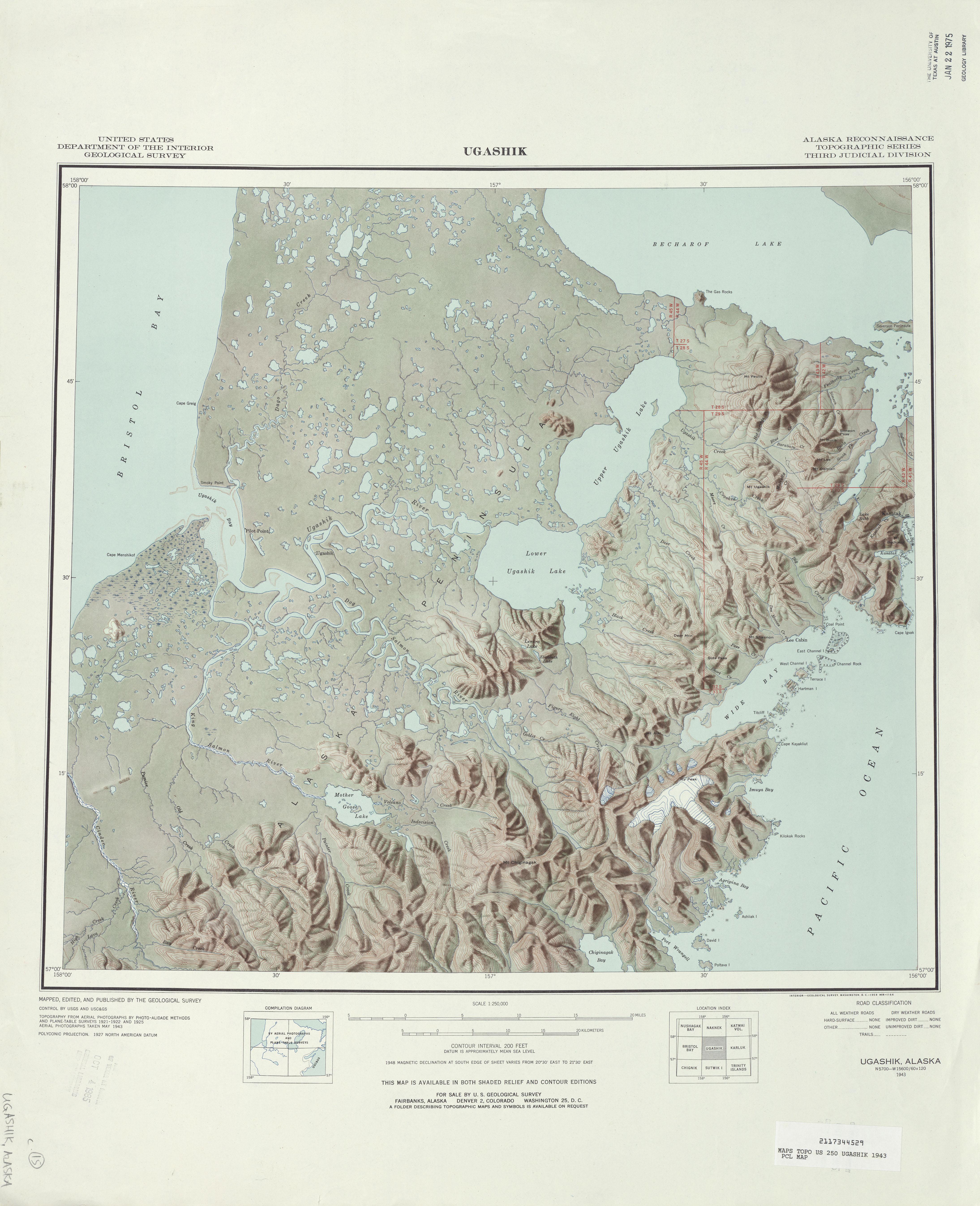 Hoja Ugashik del Mapa de Relieve Sombreado de los Estados Unidos 1943