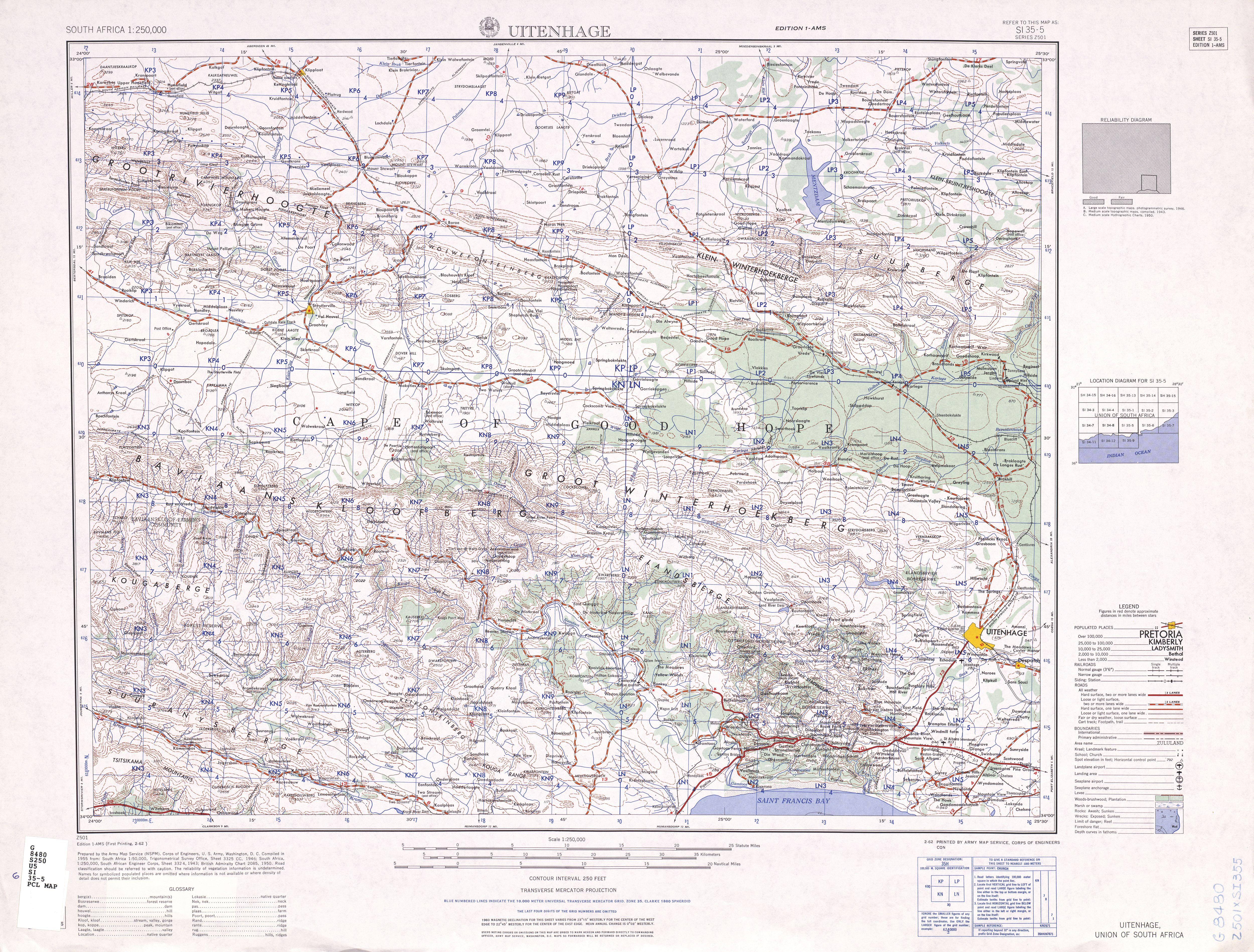 Hoja Uitenhage del Mapa Topográfico de África Meridional 1954