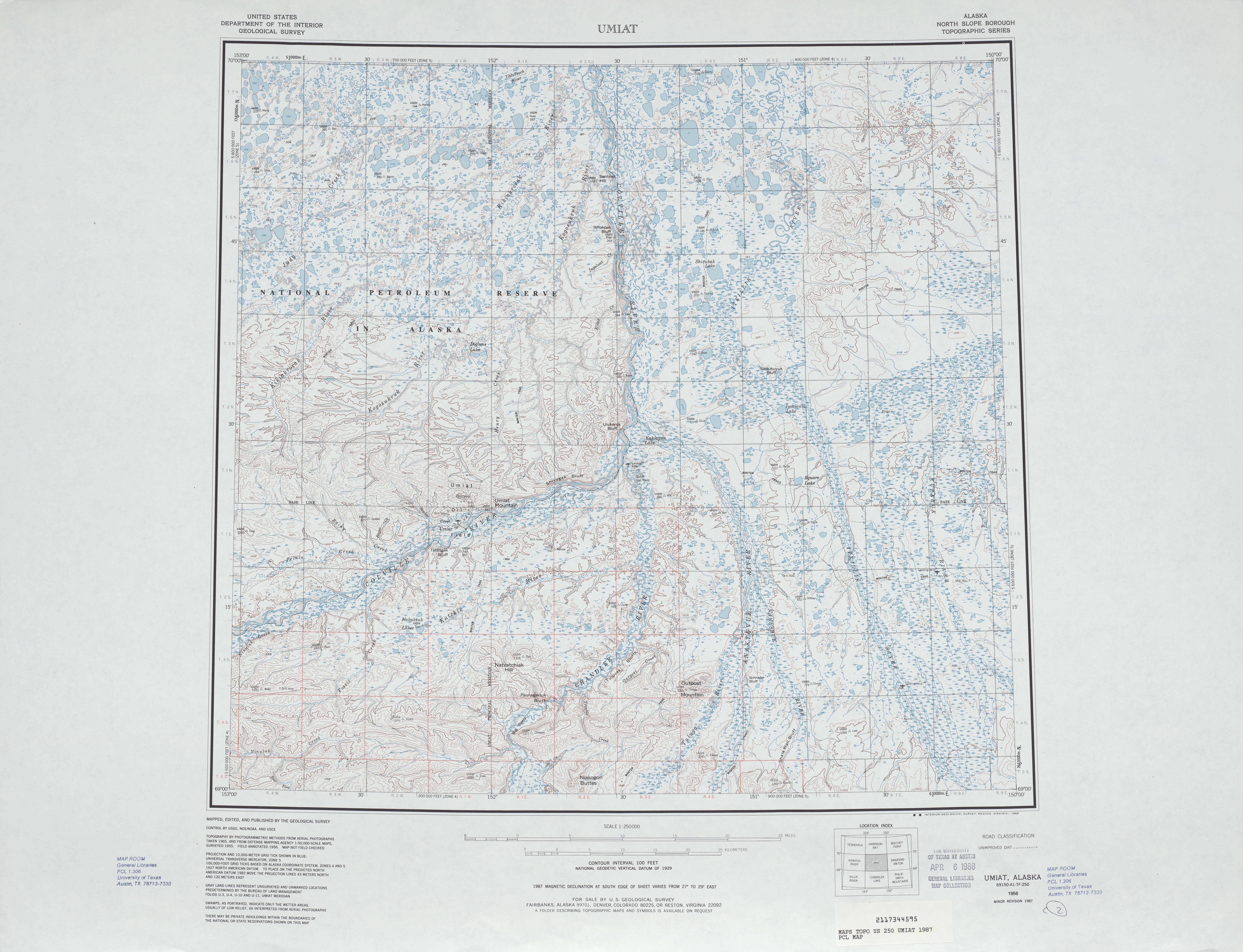 Umiat Topographic Map Sheet, United States 1987