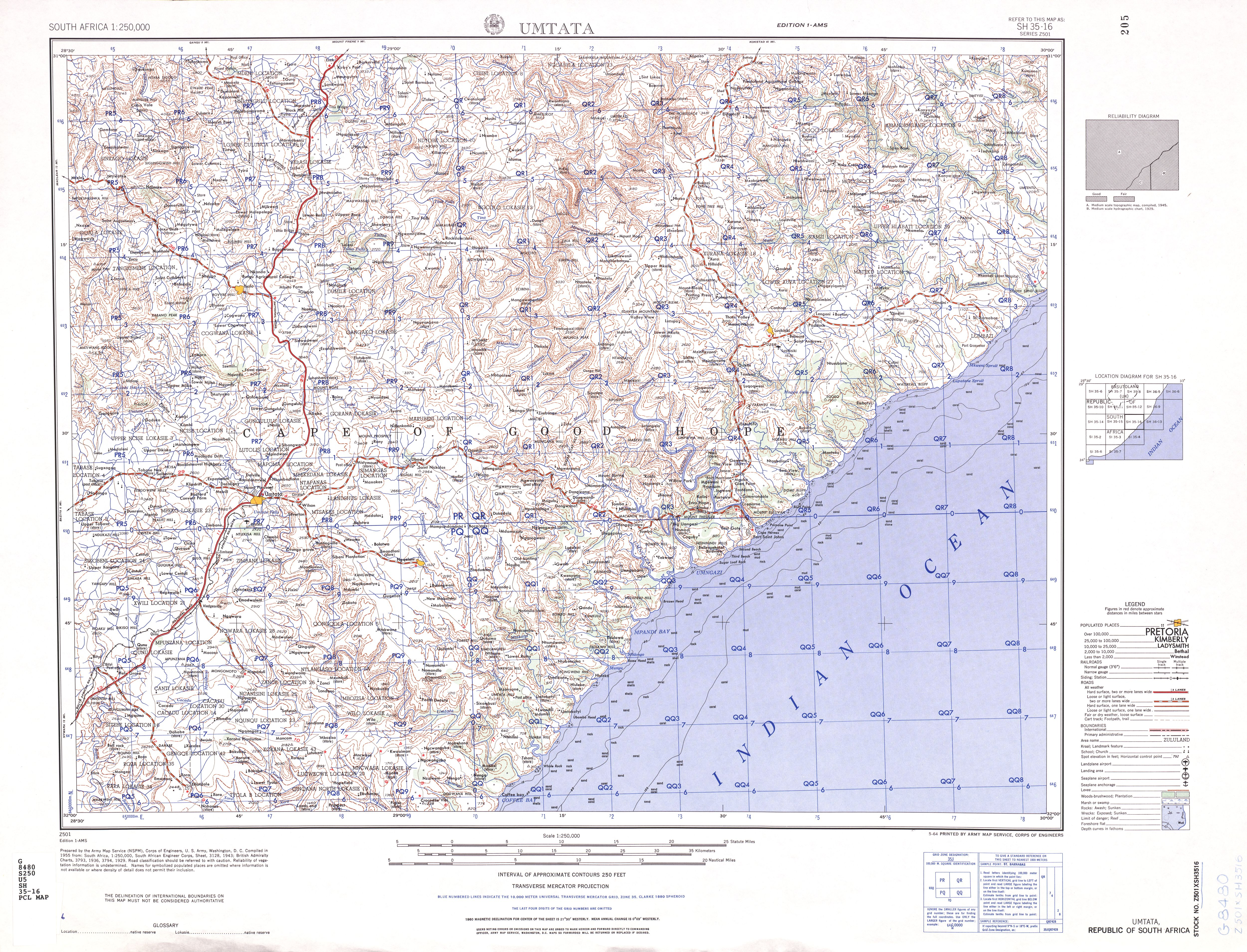 Umtata Topographic Map Sheet, Southern Africa 1954