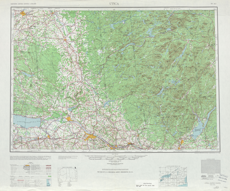 Hoja Utica del Mapa Topográfico de los Estados Unidos 1948