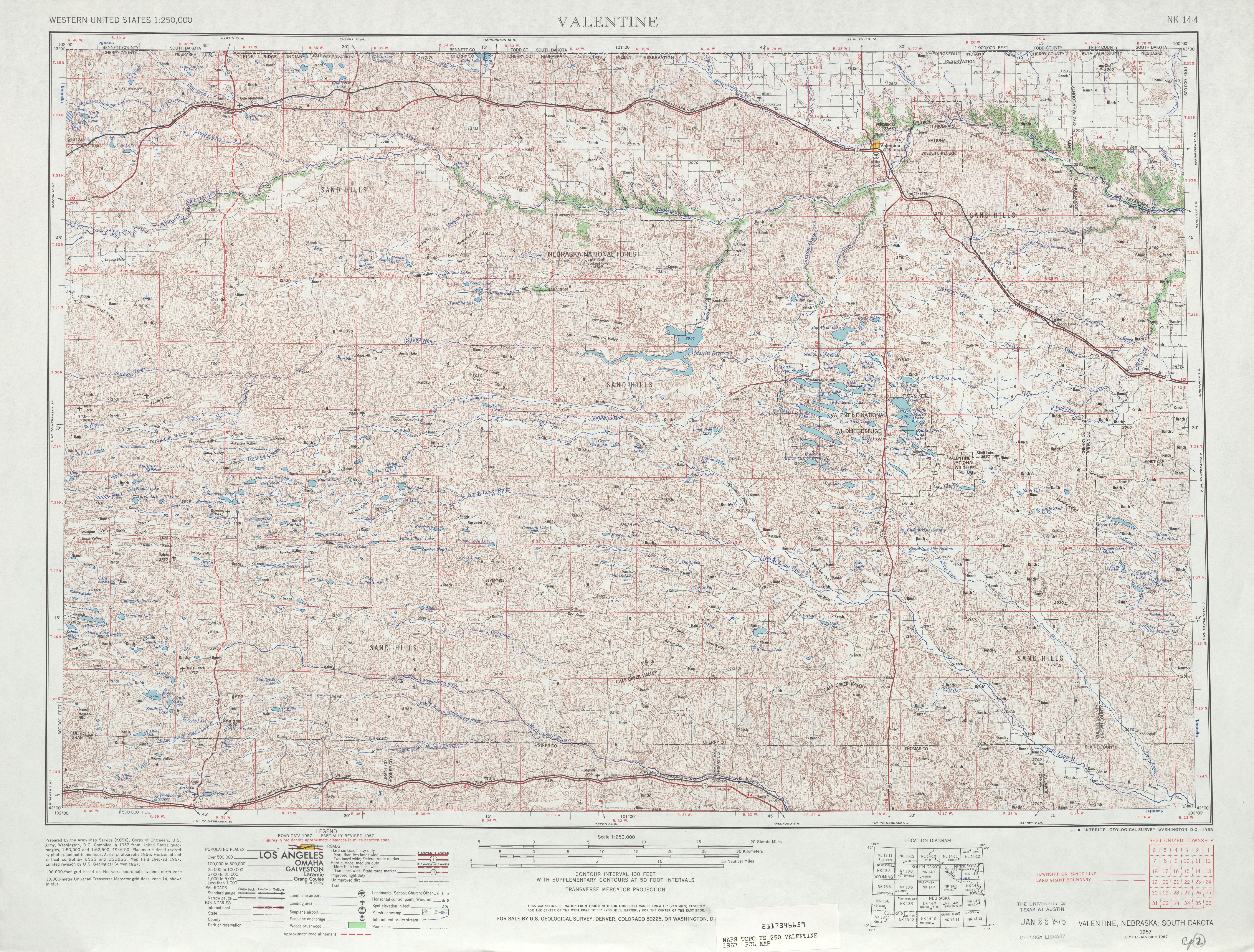 Hoja Valentine del Mapa Topográfico de los Estados Unidos 1967