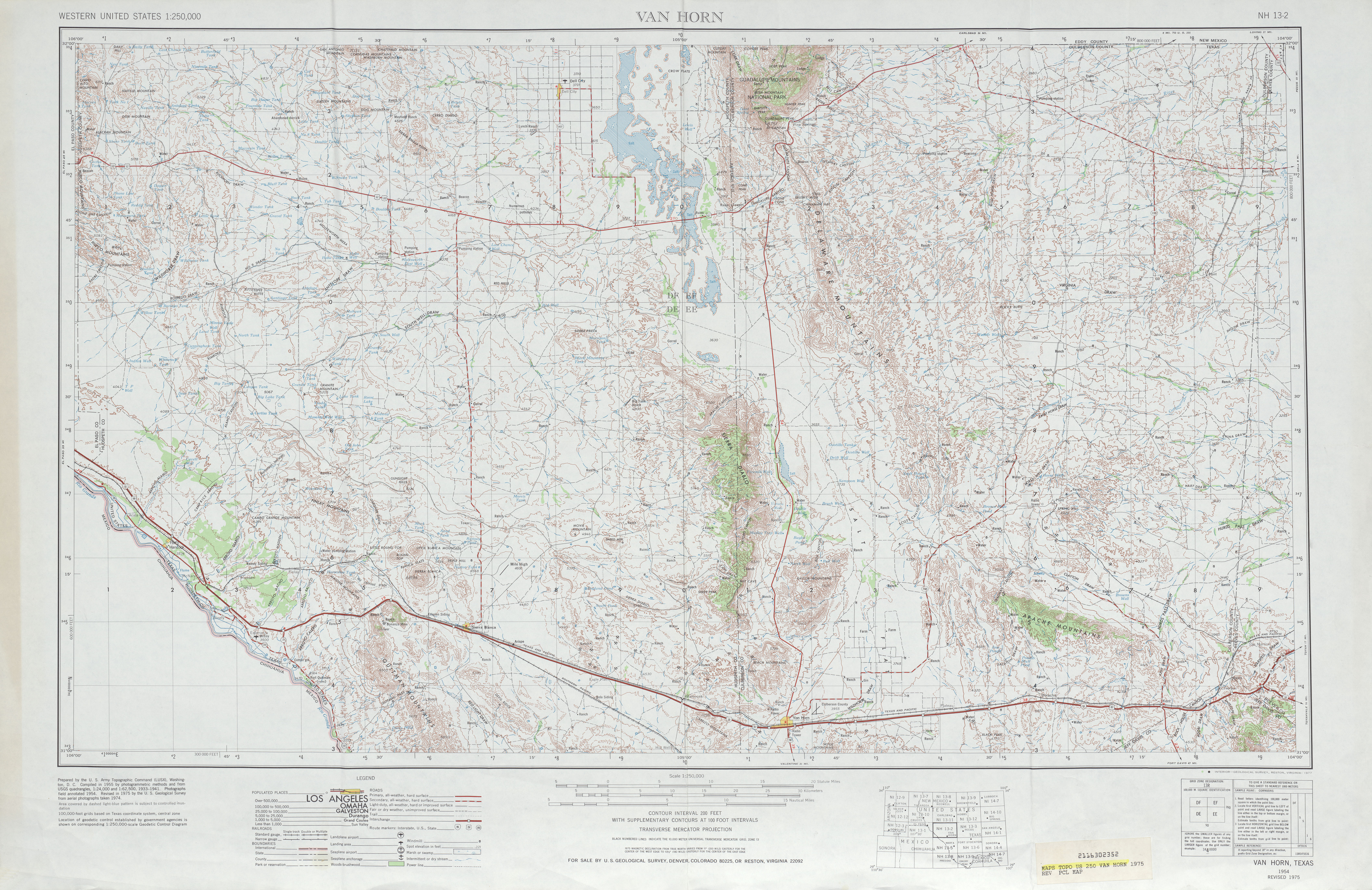 Van Horn Topographic Map Sheet, United States 1975