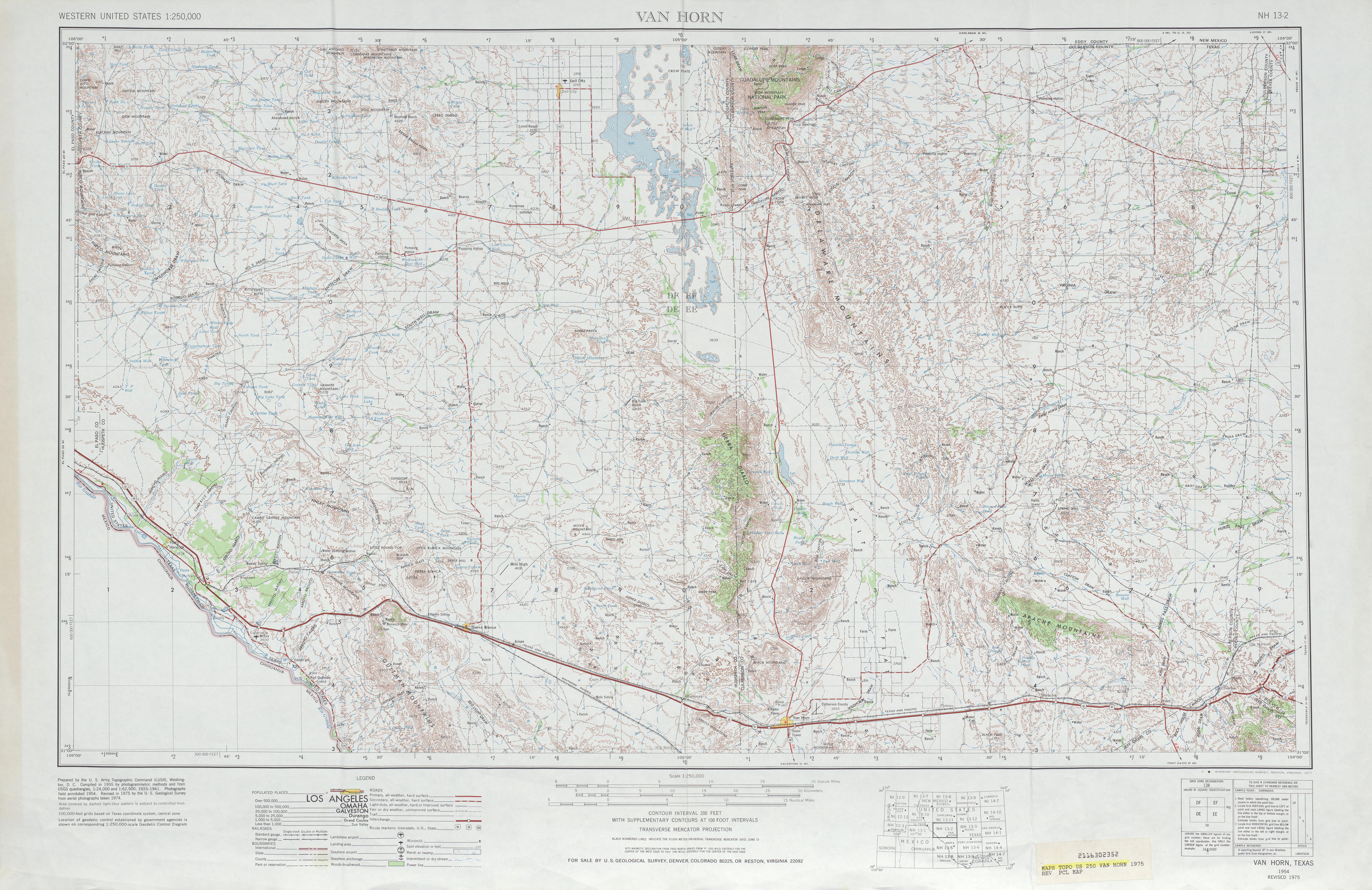 Hoja Van Horn del Mapa Topográfico de los Estados Unidos 1975
