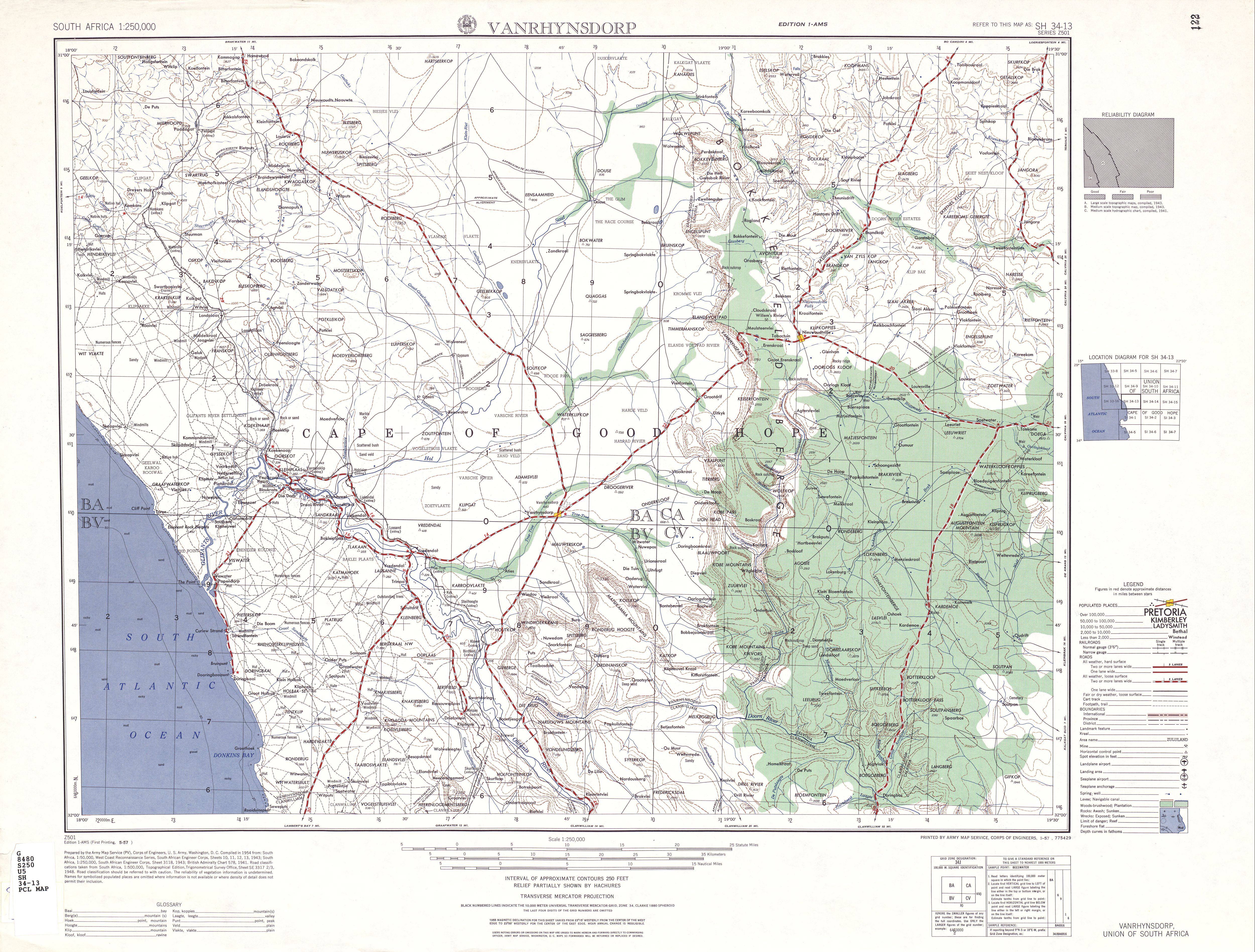 Vanrhynsdorp Topographic Map Sheet, Southern Africa 1954