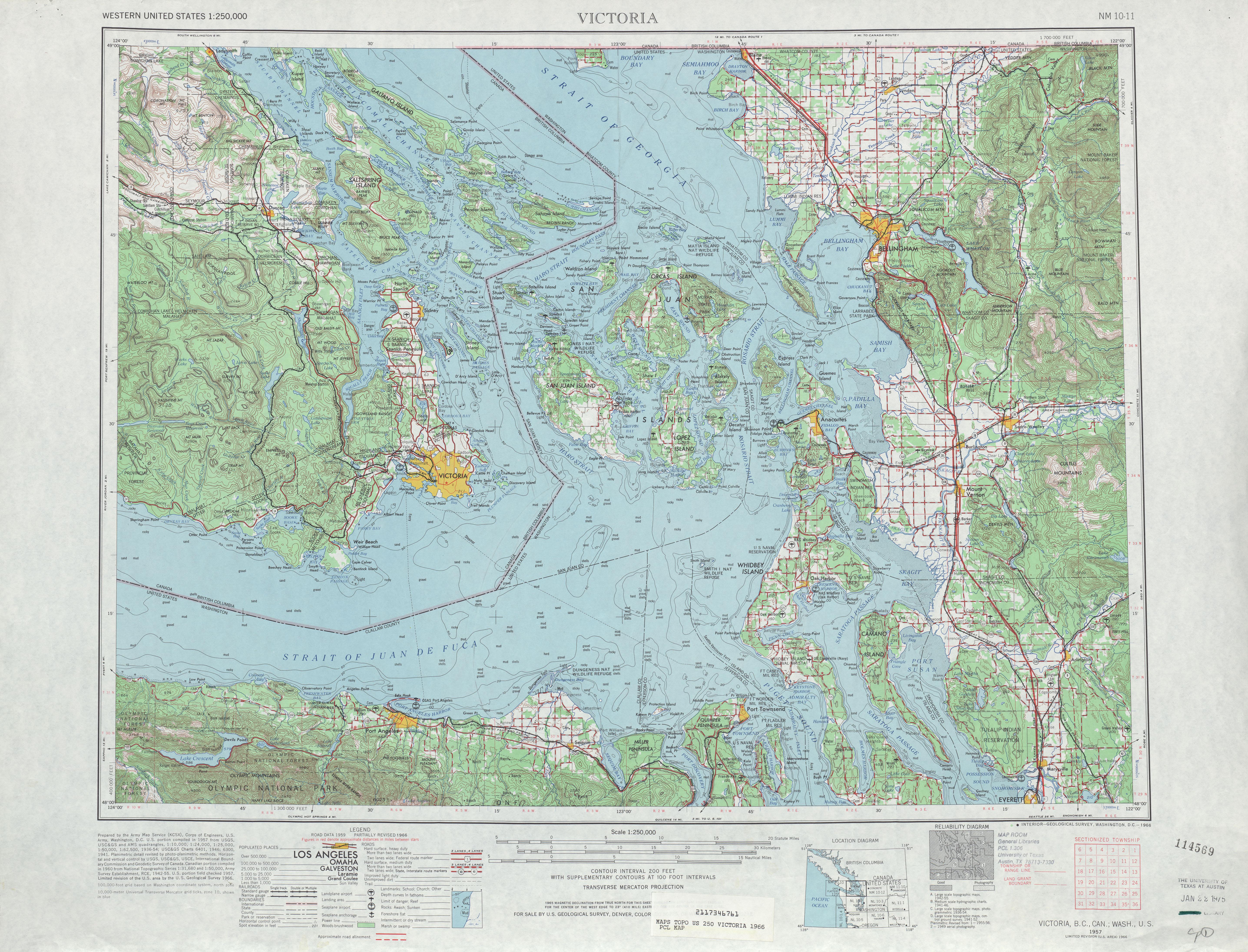 Hoja Victoria del Mapa Topográfico de los Estados Unidos 1966