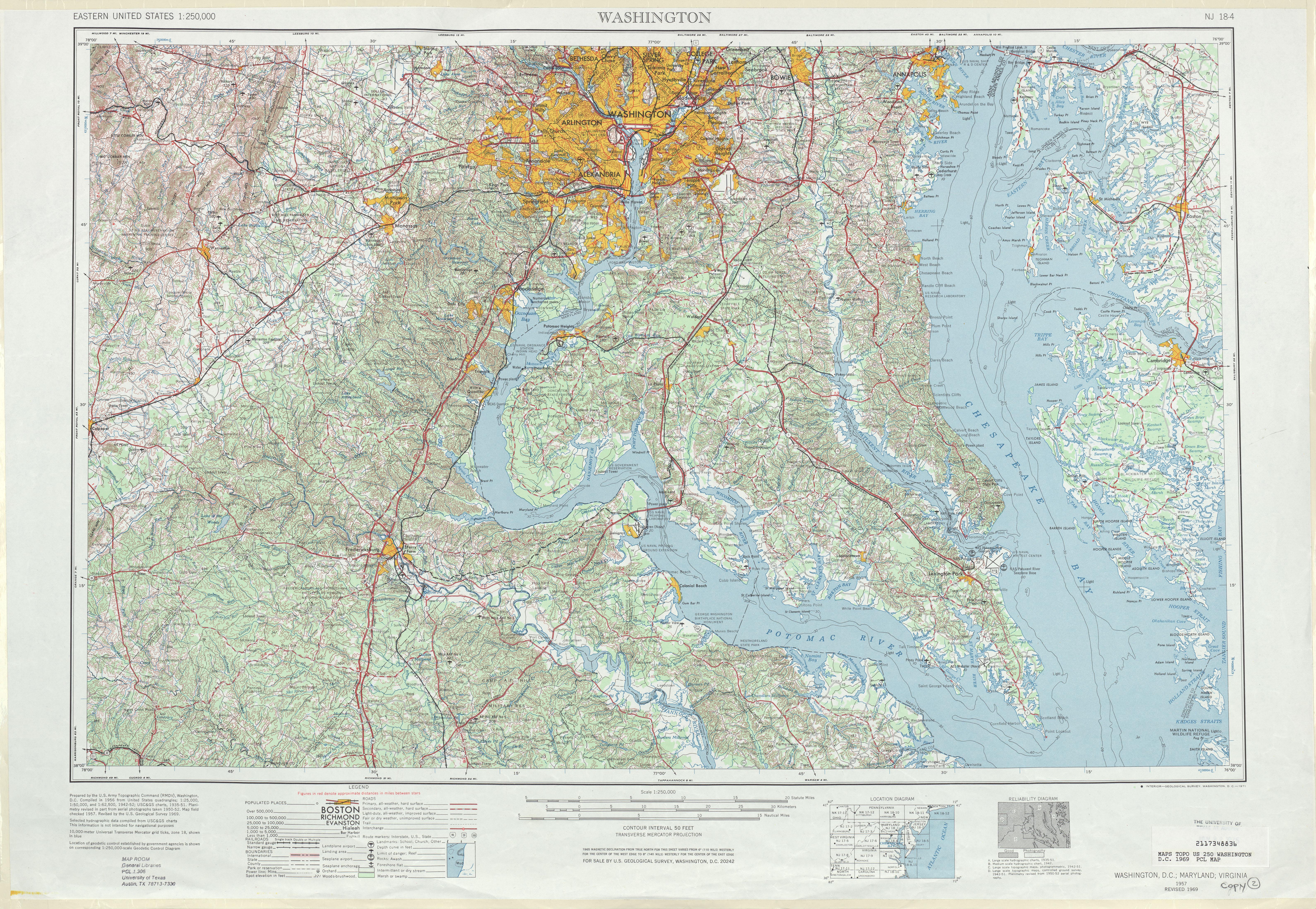 Hoja Washington D.Circa del Mapa Topográfico de los Estados Unidos 1969