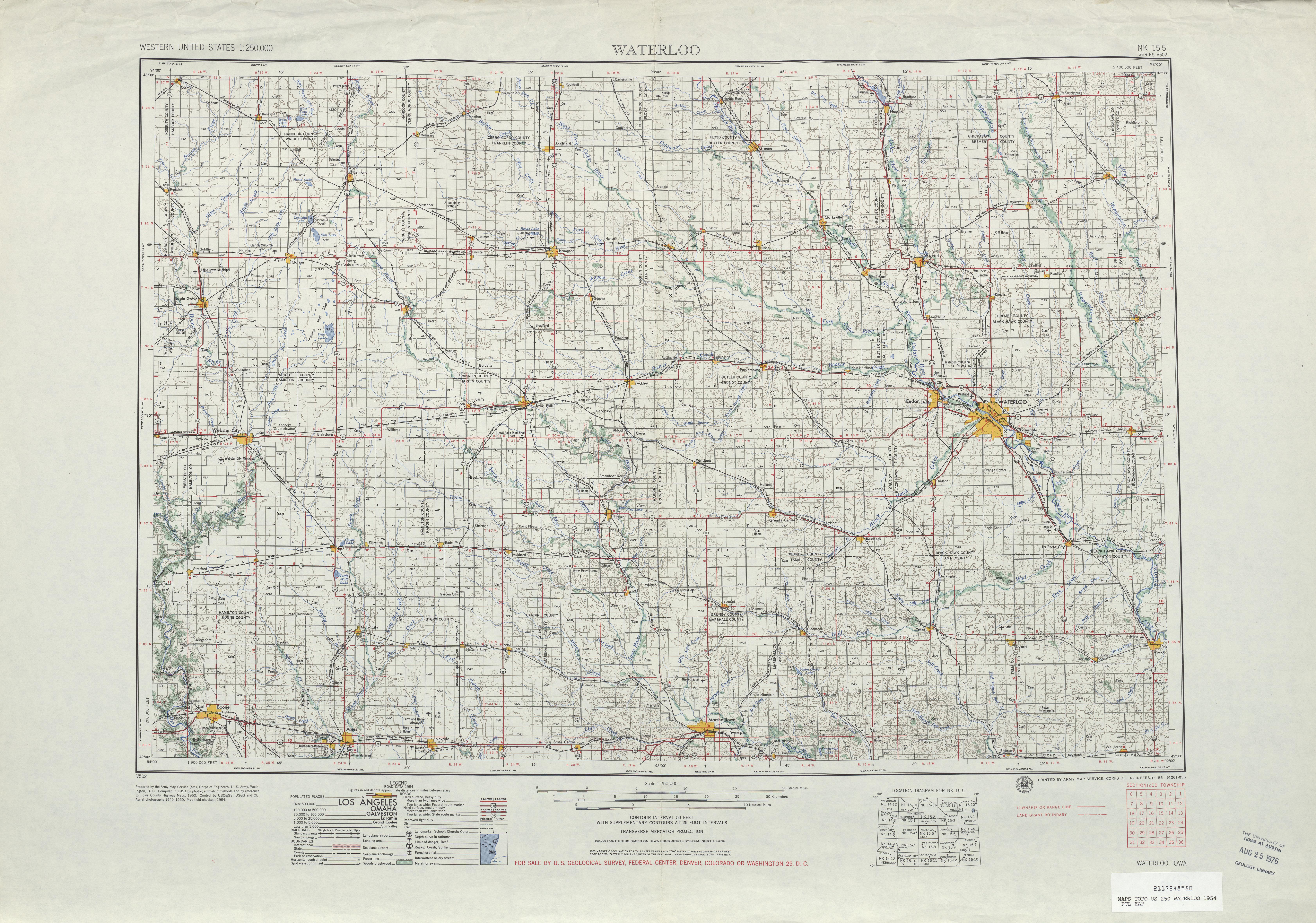 Hoja Waterloo del Mapa Topográfico de los Estados Unidos 1954