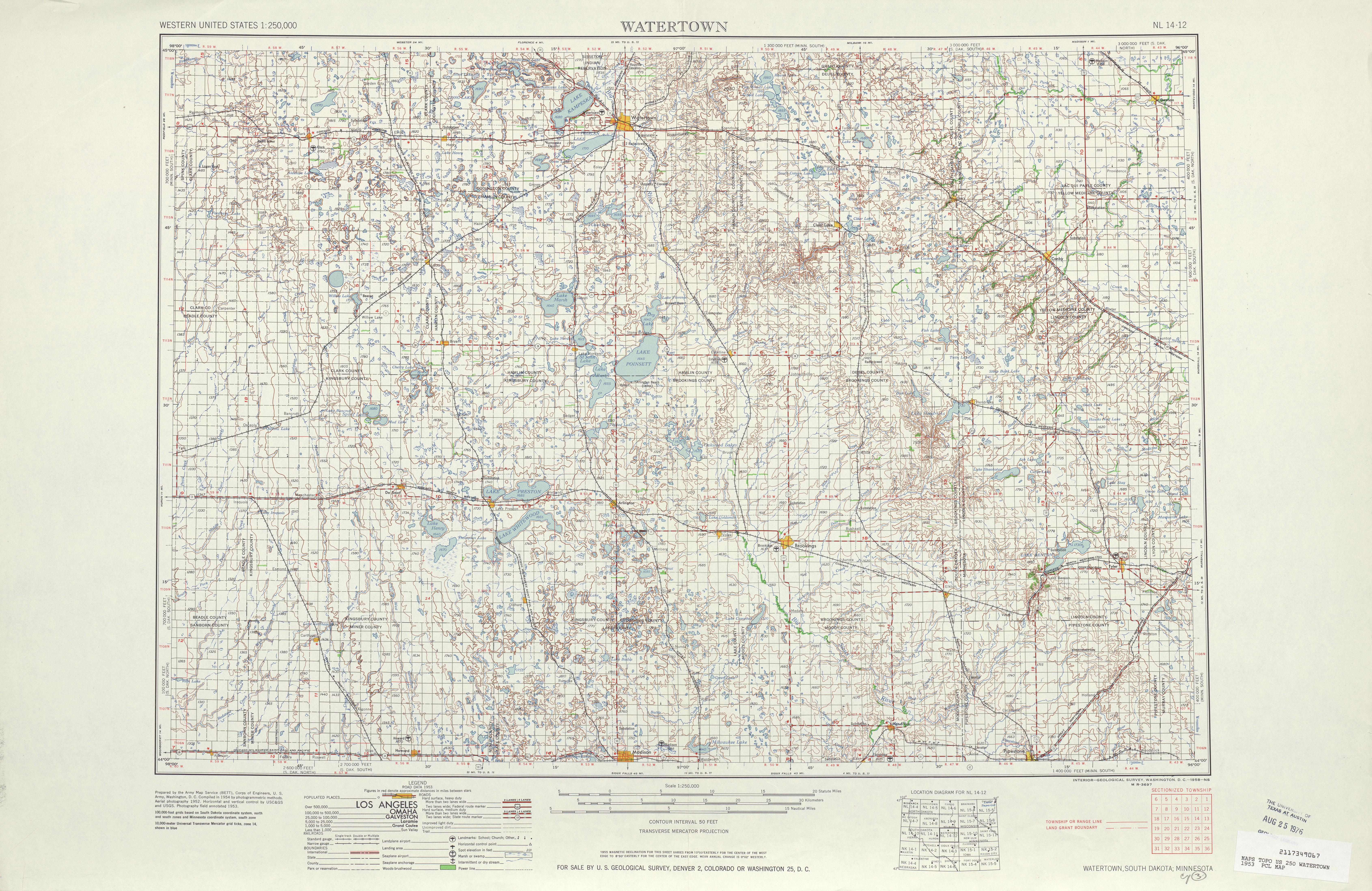 Hoja Watertown del Mapa Topográfico de los Estados Unidos 1953