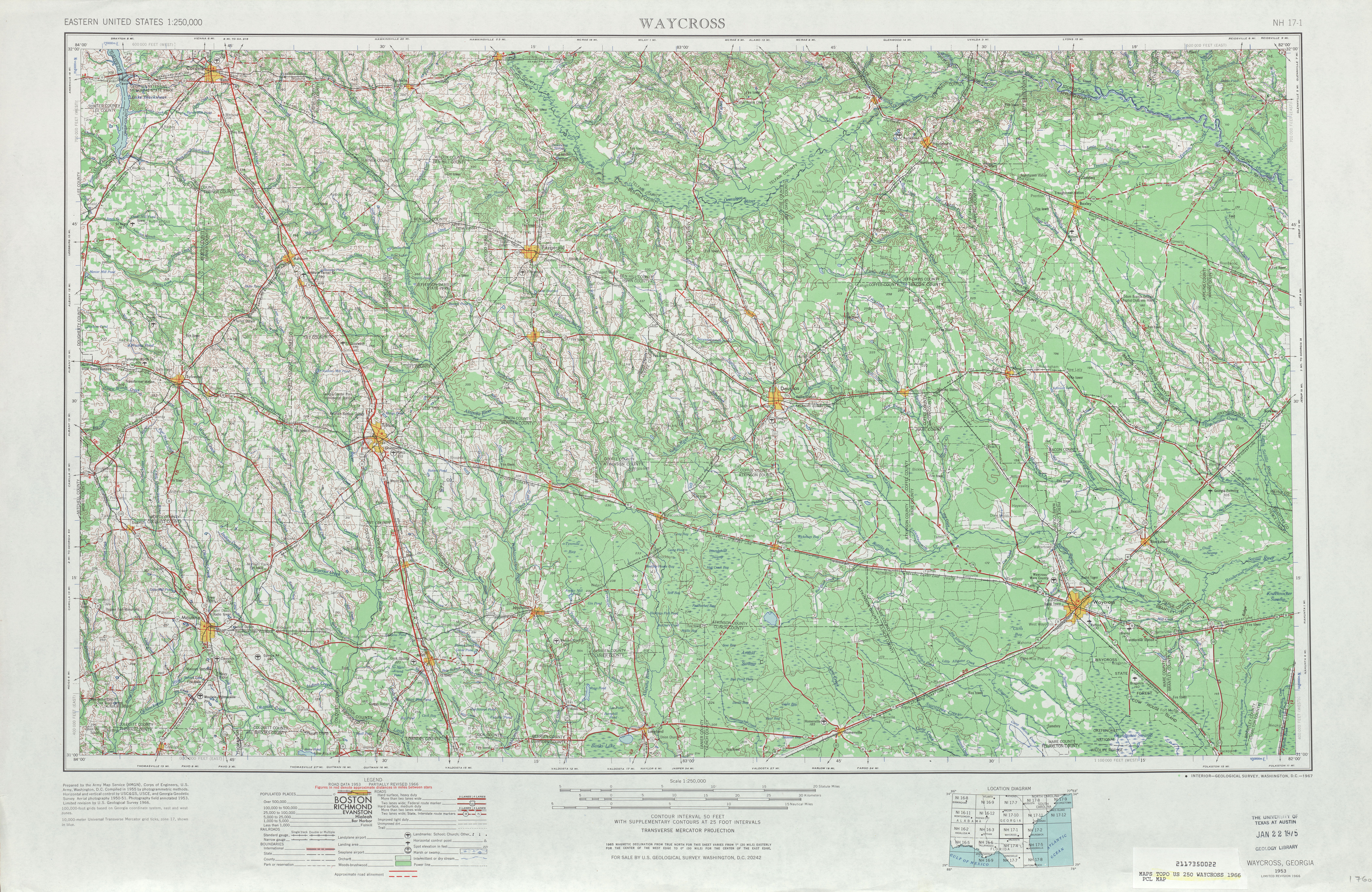Waycross Topographic Map Sheet, United States 1966
