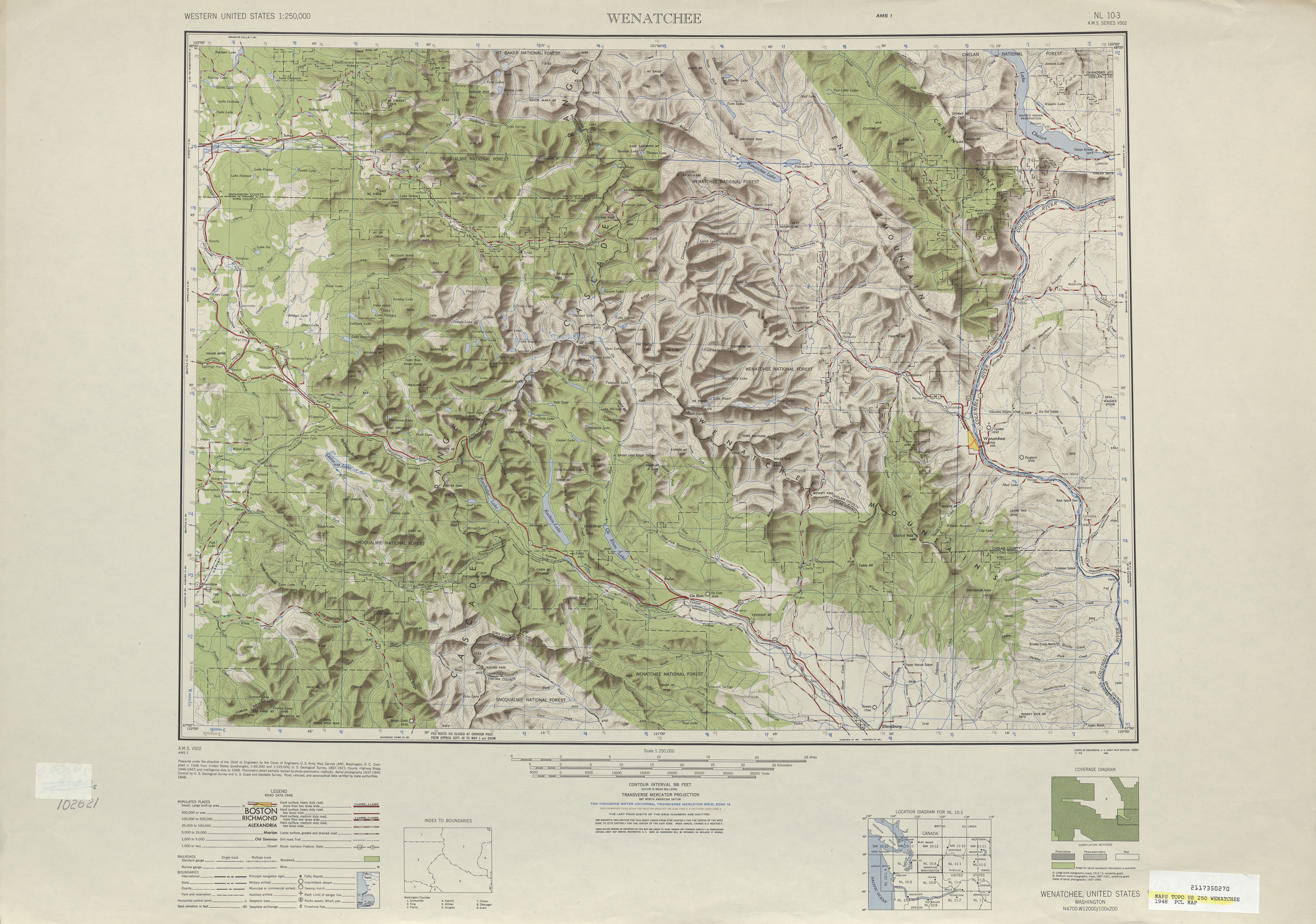 Wenatchee Shaded Relief Map Sheet, United States 1948