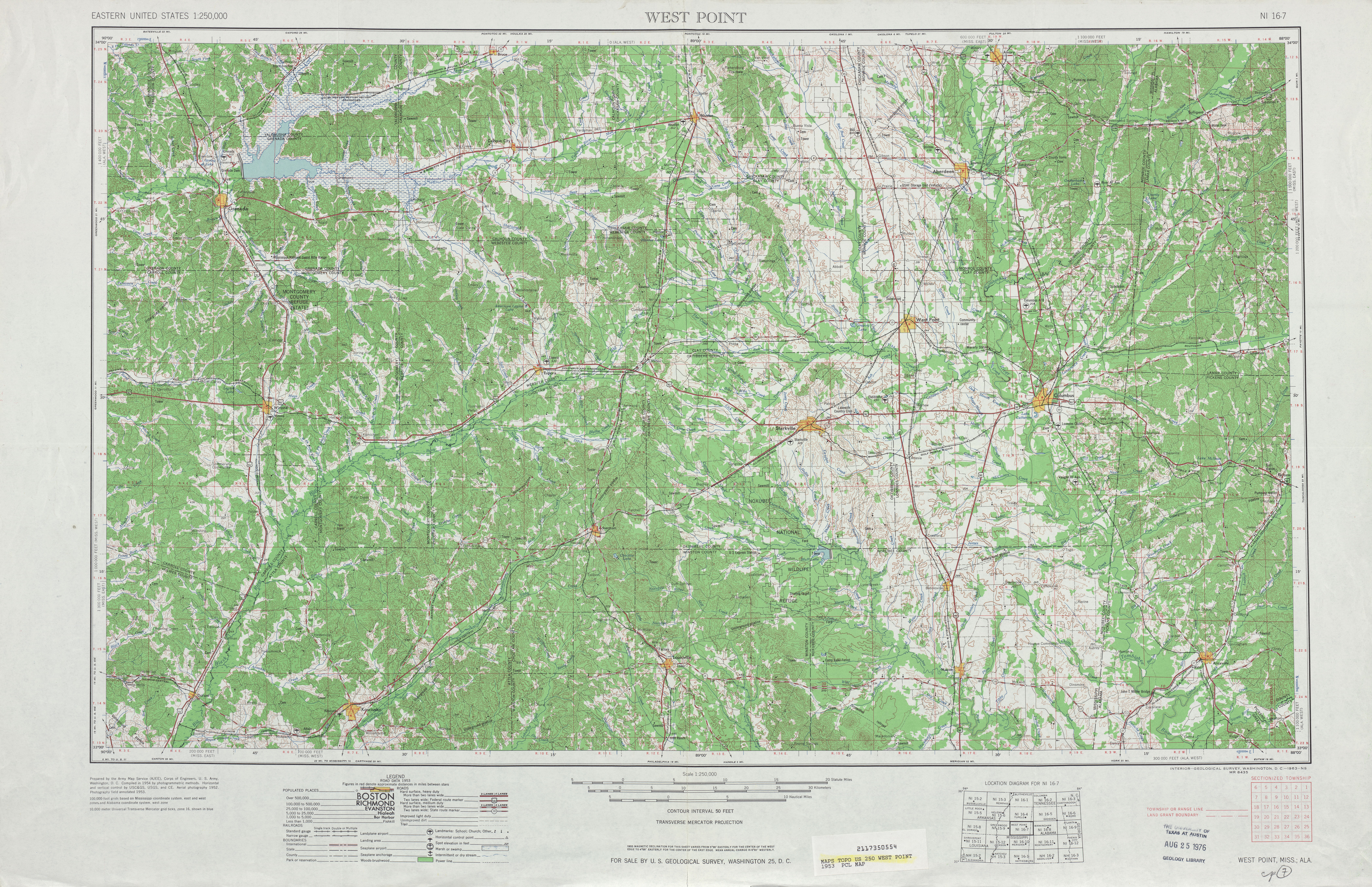 Hoja West Point del Mapa Topográfico de los Estados Unidos 1953