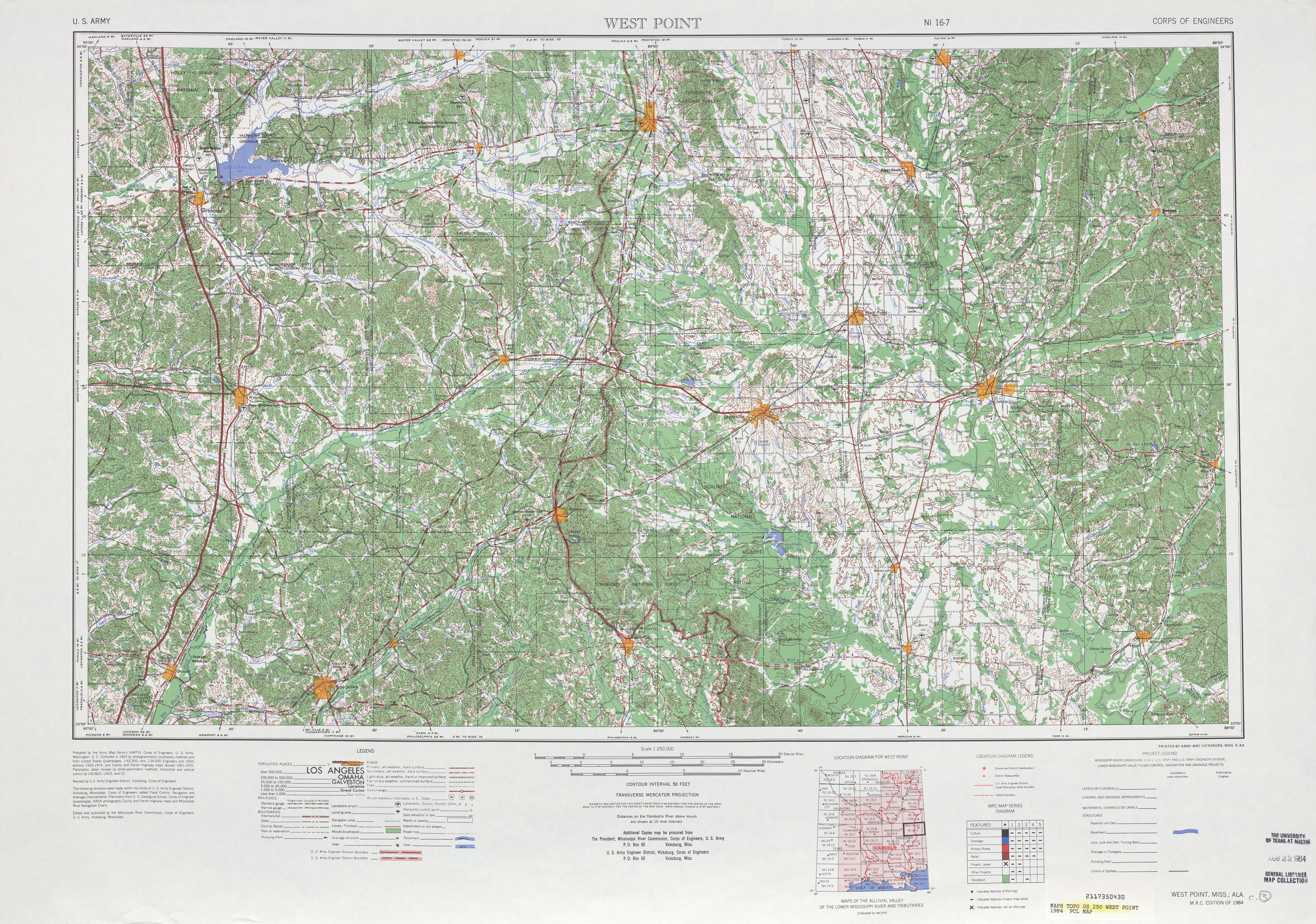 West Point Topographic Map Sheet, United States 1984