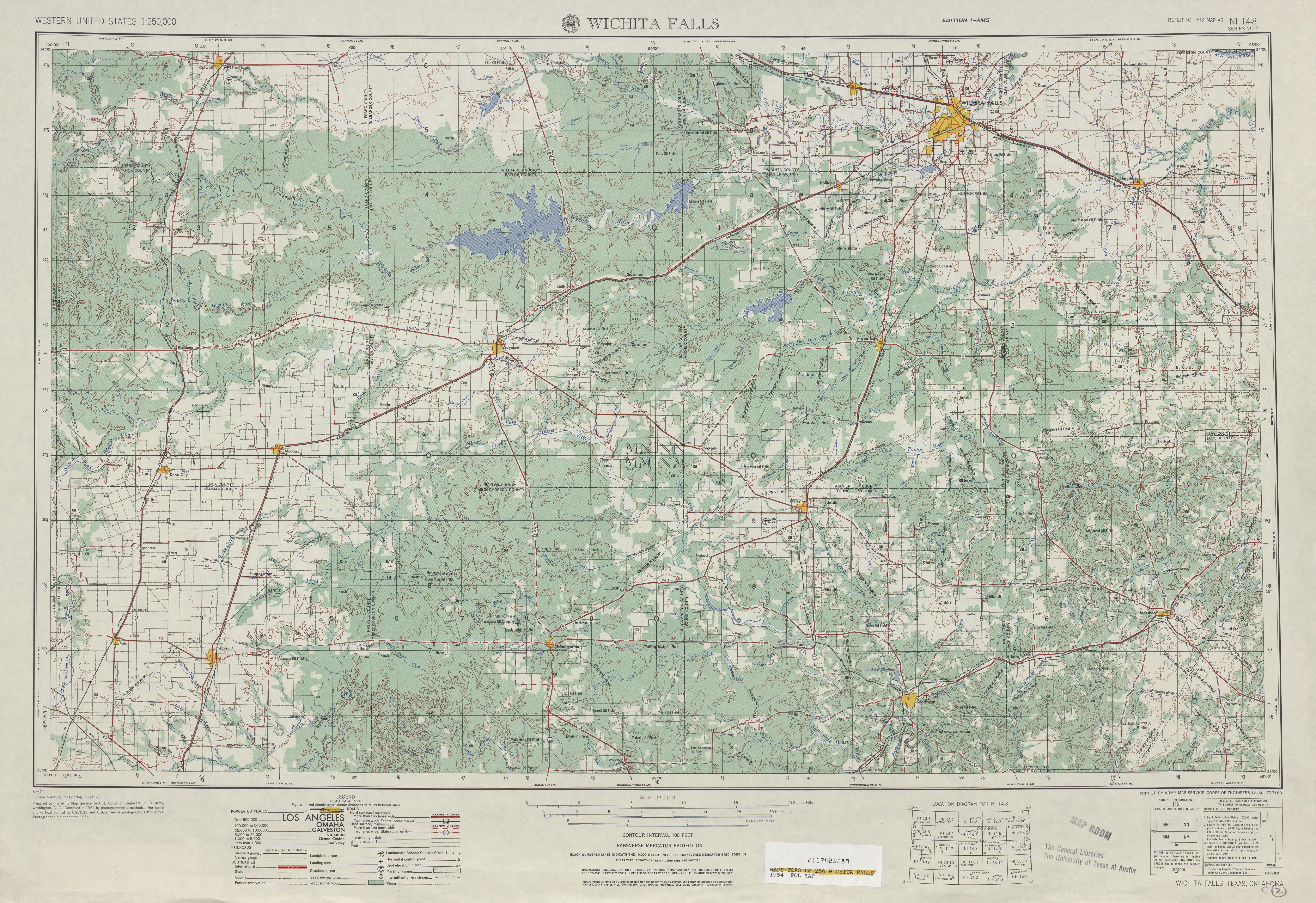 Wichita Falls Topographic Map Sheet, United States 1954