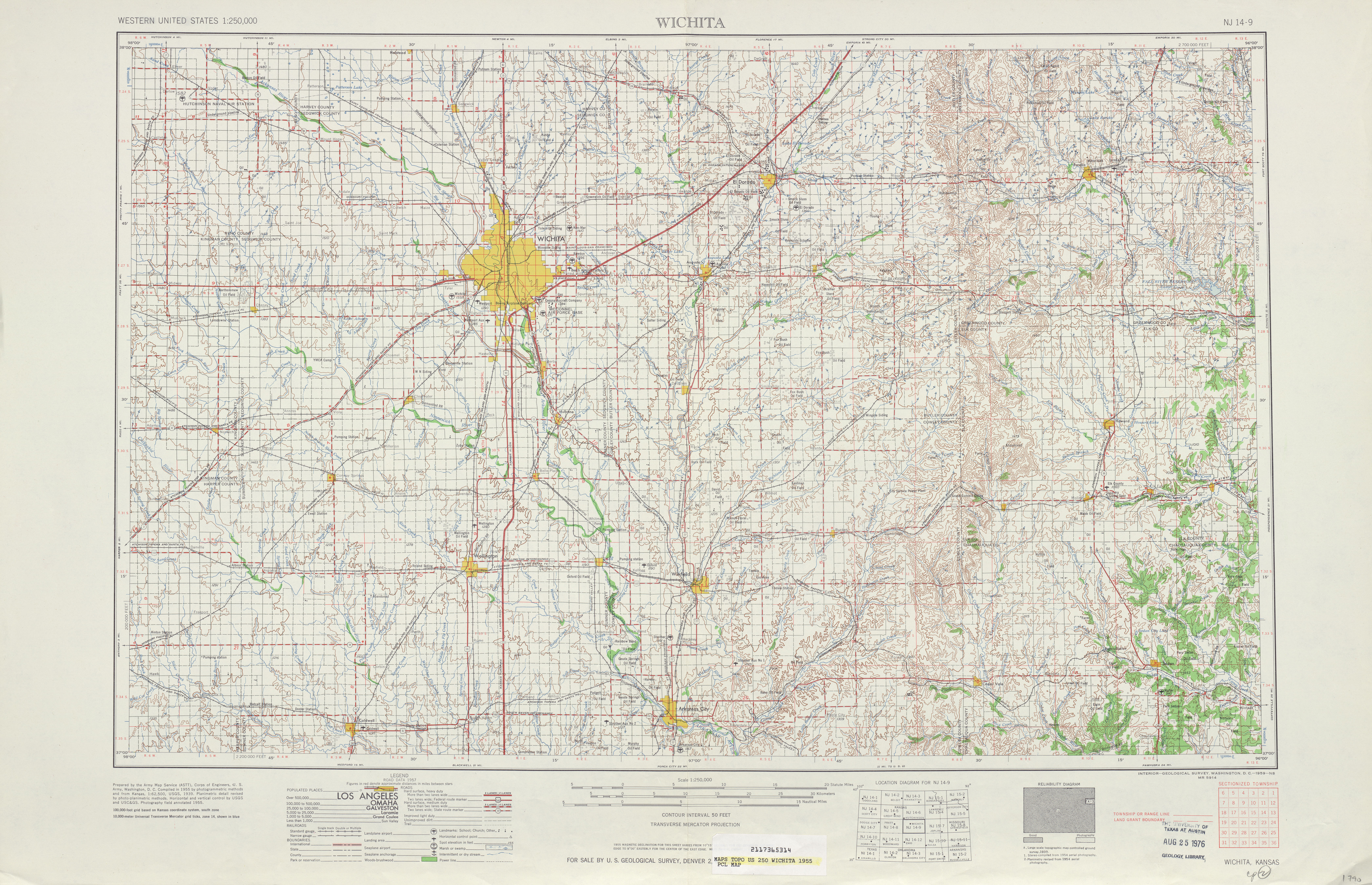 Wichita Topographic Map Sheet, United States 1955
