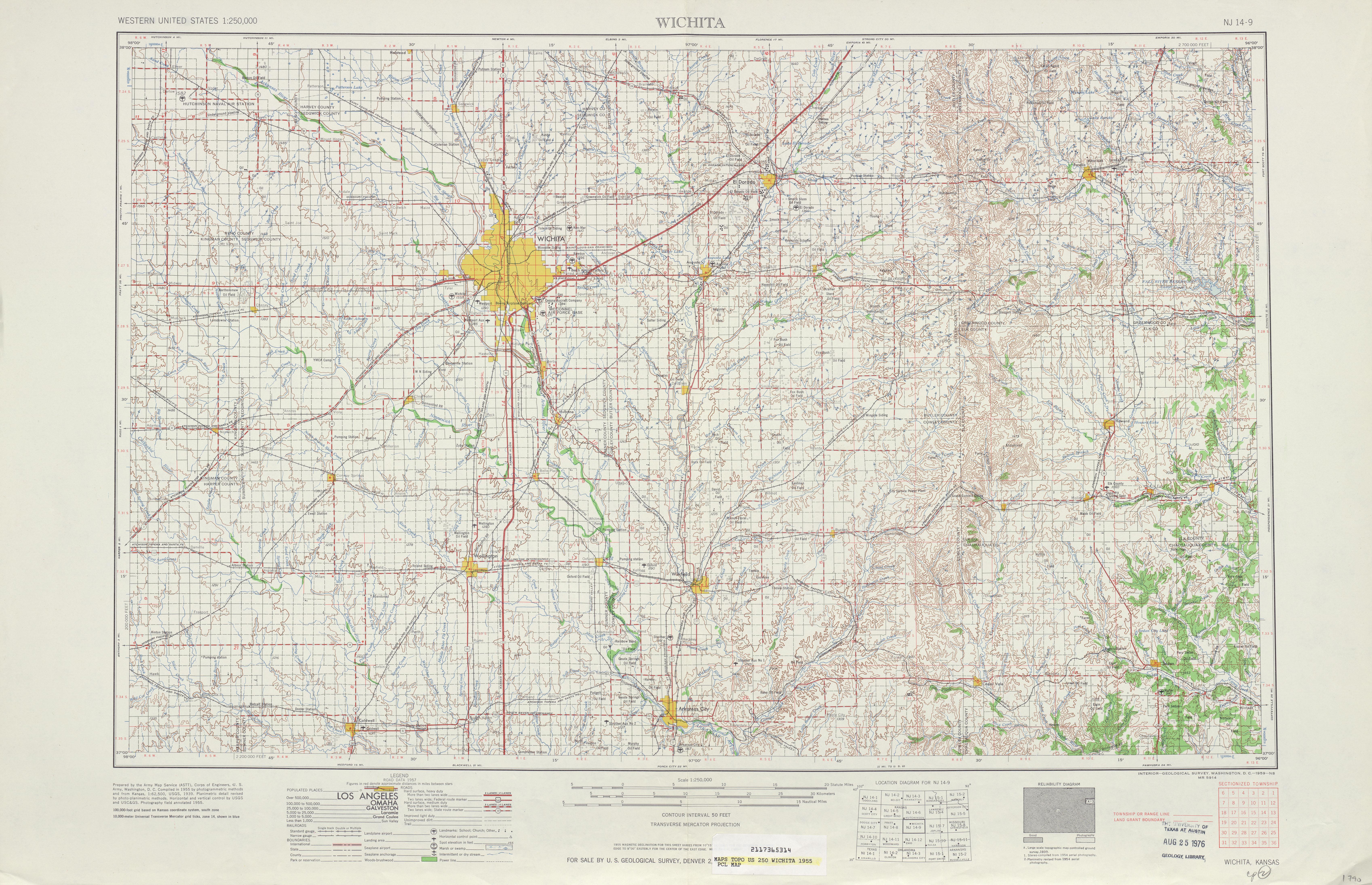 Hoja Wichita del Mapa Topográfico de los Estados Unidos 1955
