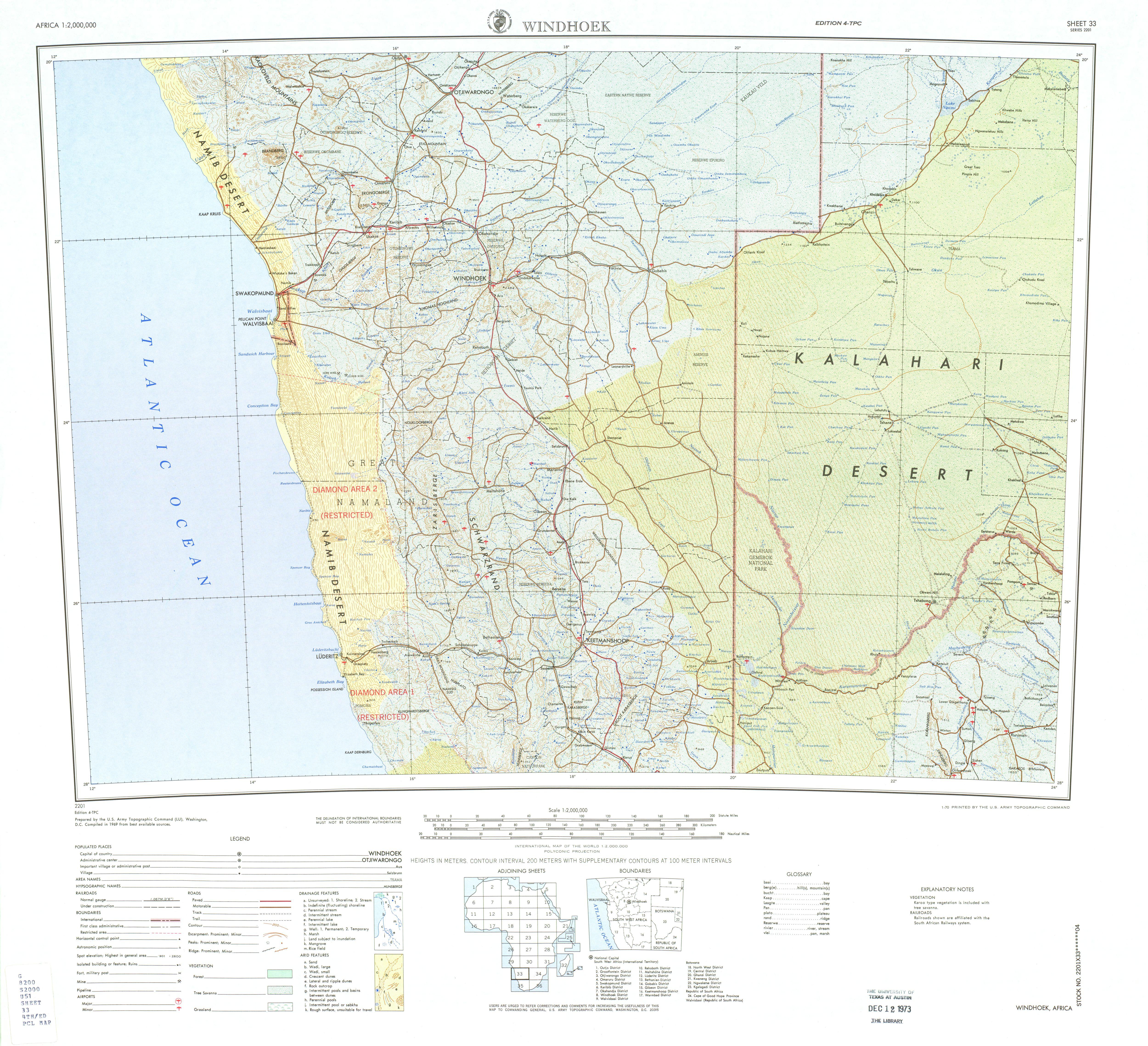 Hoja Windhoek del Mapa Topográfico de África 1969