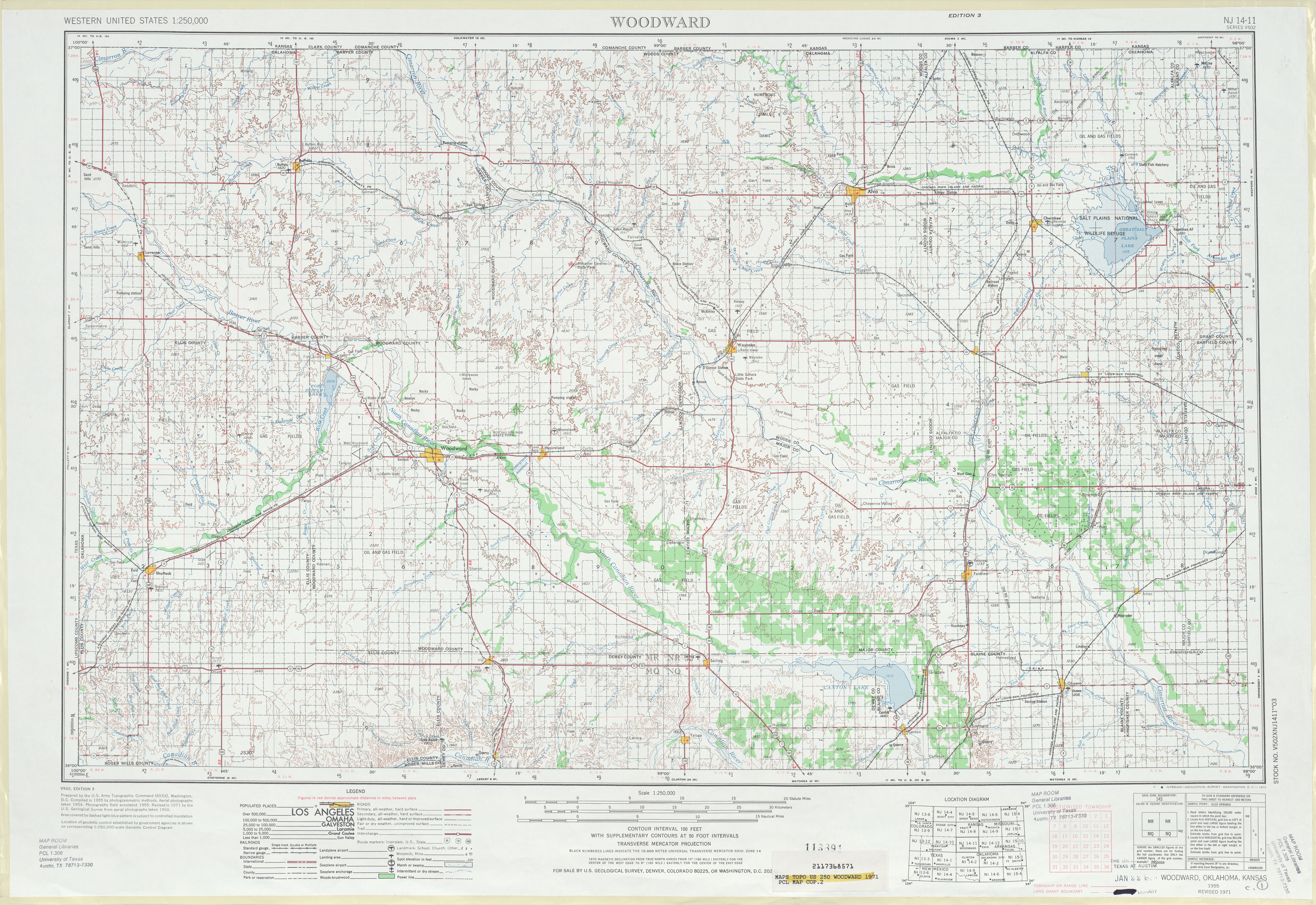 Woodward Topographic Map Sheet, United States 1971