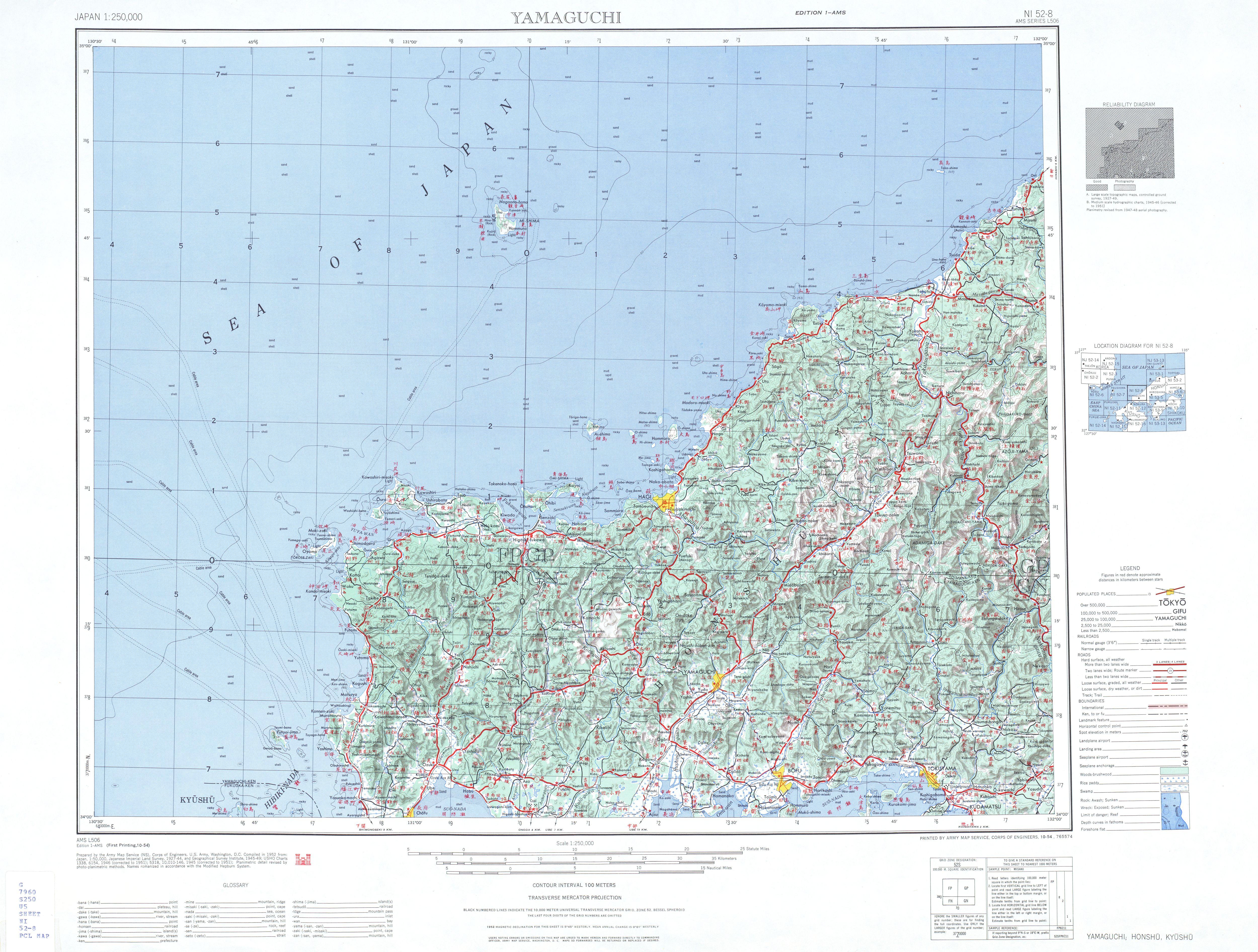 Yamaguchi Topographic Map Sheet, Japan 1954