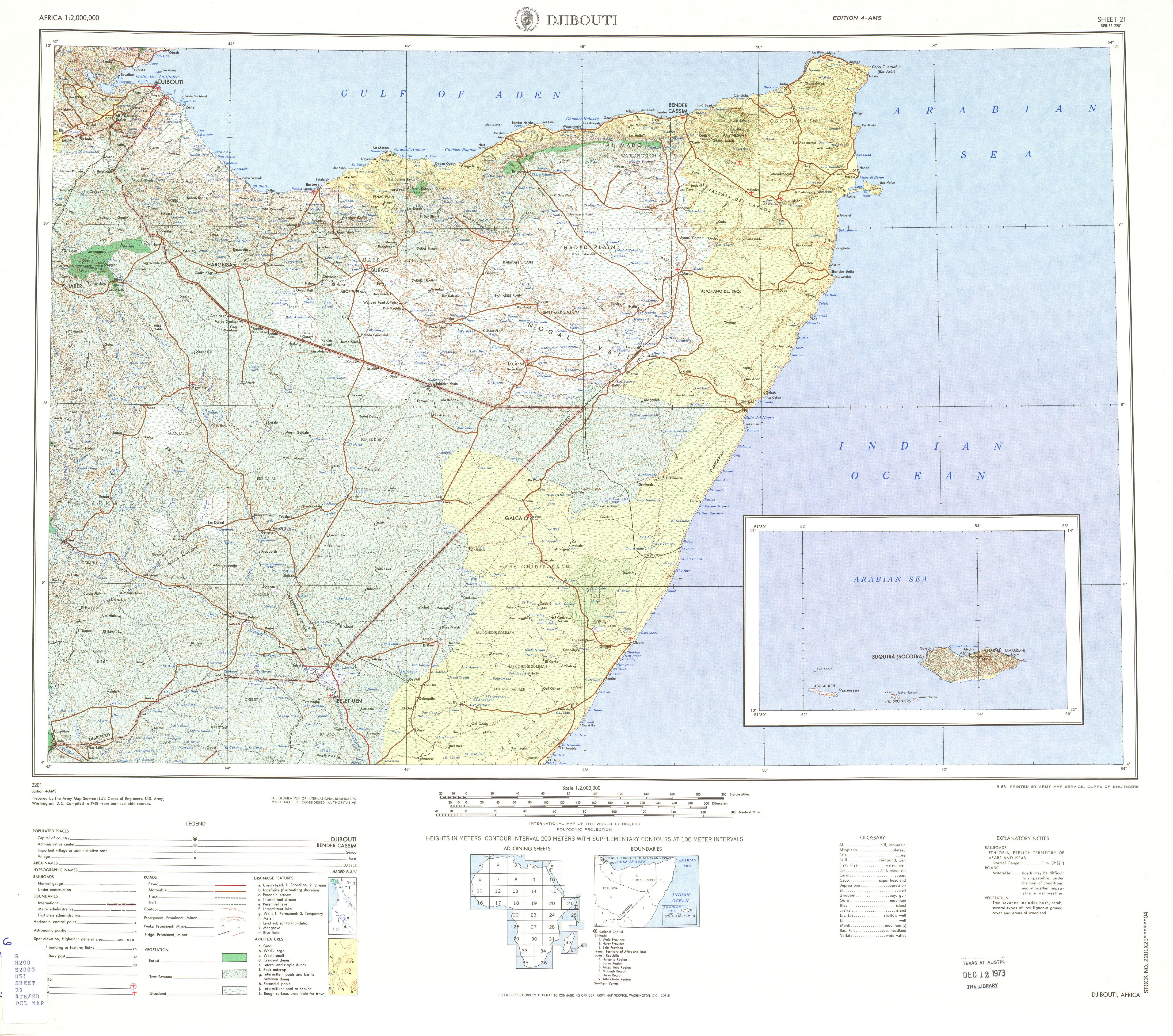 Hoja Yibuti del Mapa Topográfico de África 1968
