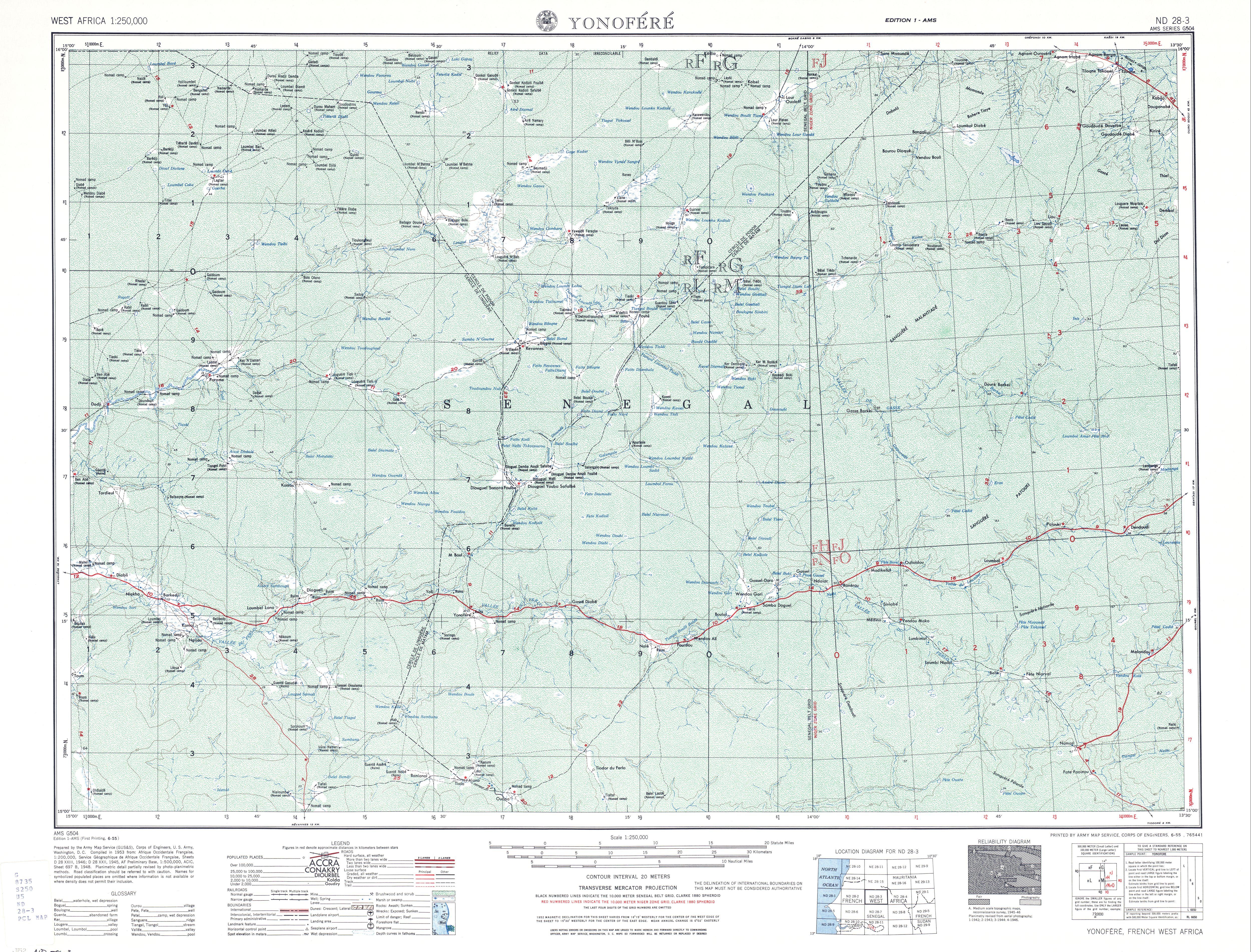Hoja Yonofere del Mapa Topográfico de África Occidental 1955