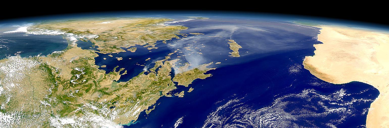 Humo de los incendios en Grecia visto por SeaWiFS