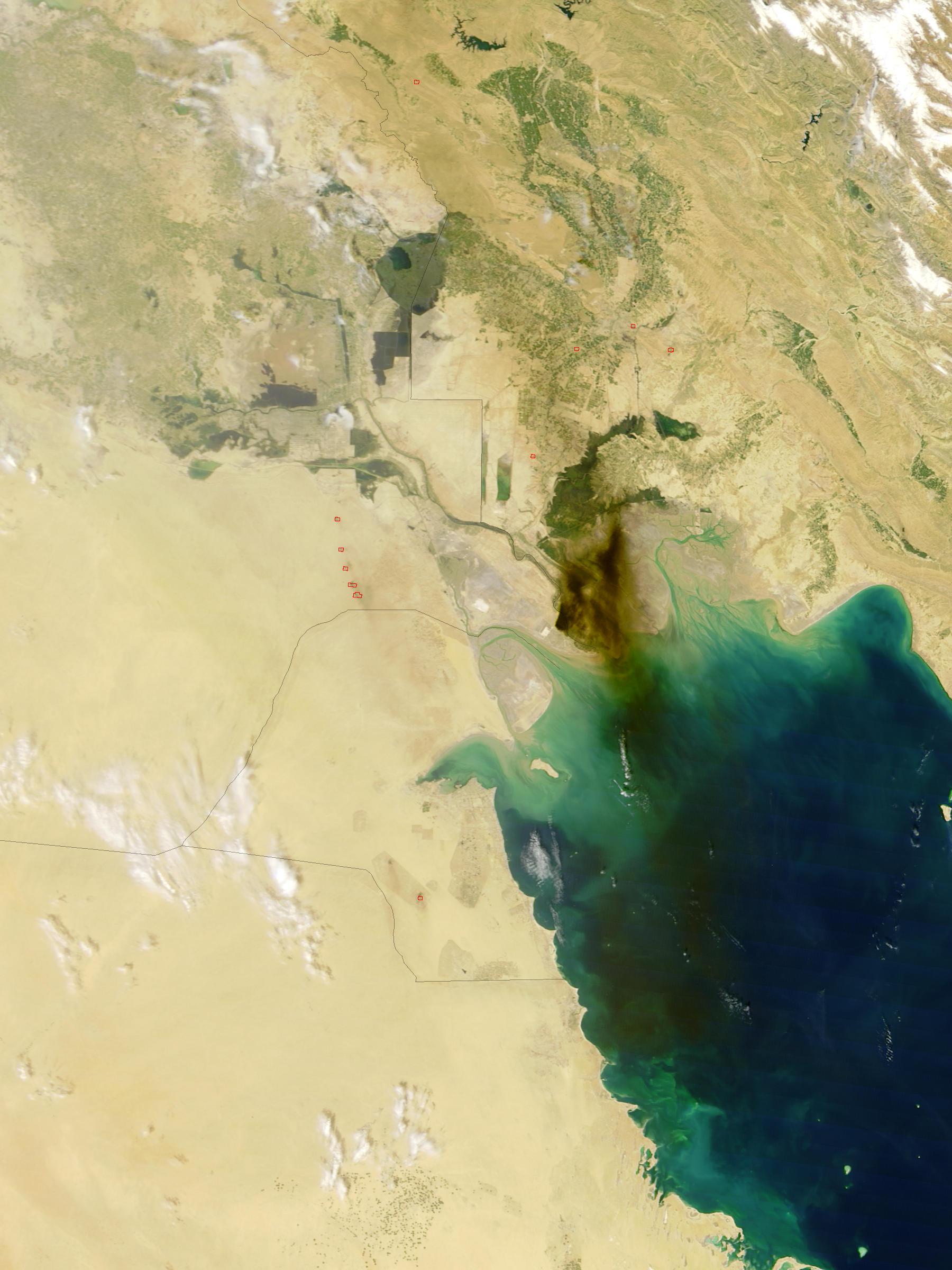 Humo de oleoducto incendio en Iraq meridional (seguimiento satelital de la mañana)