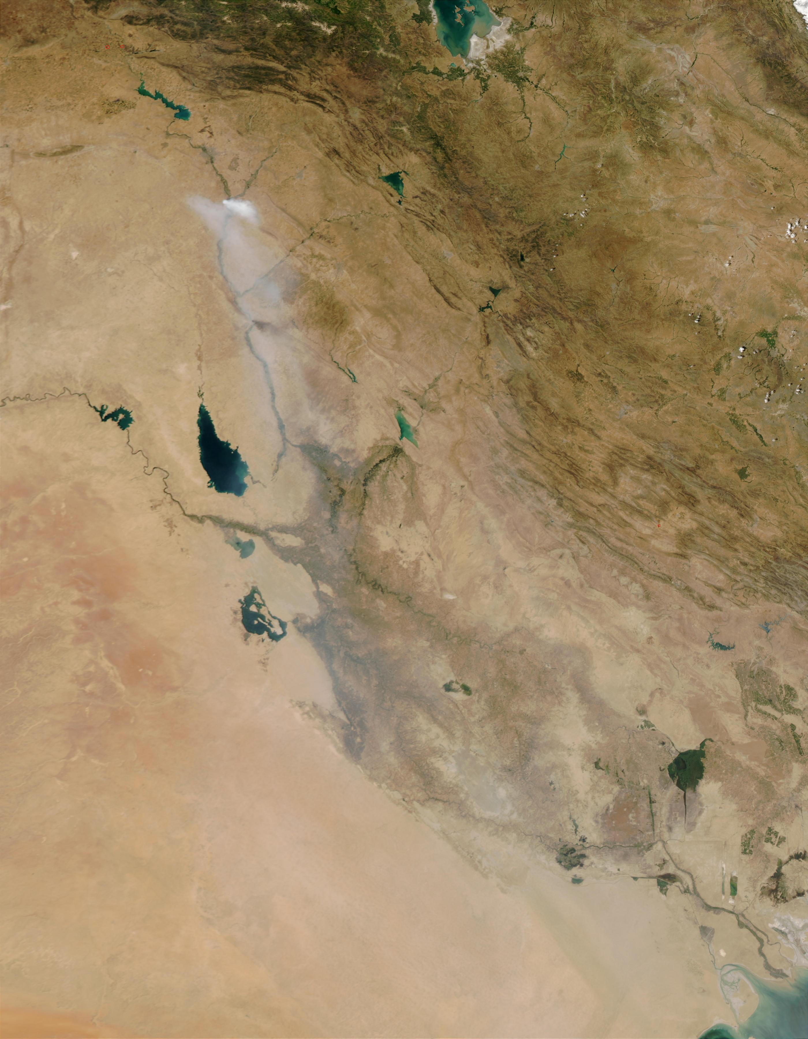 Humo tóxico de azufre a través de Iraq