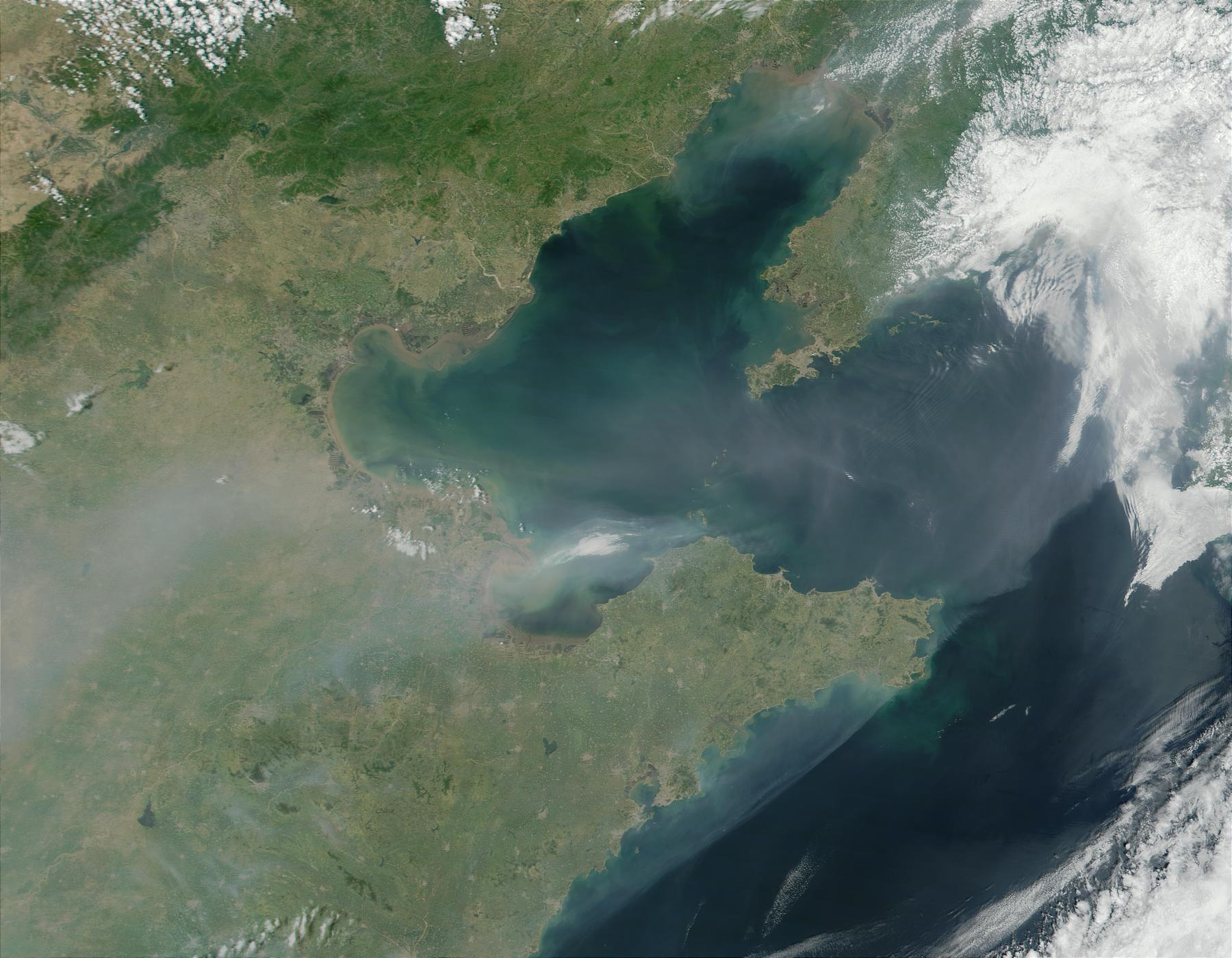 Smoke and Haze over Bo Hai, China