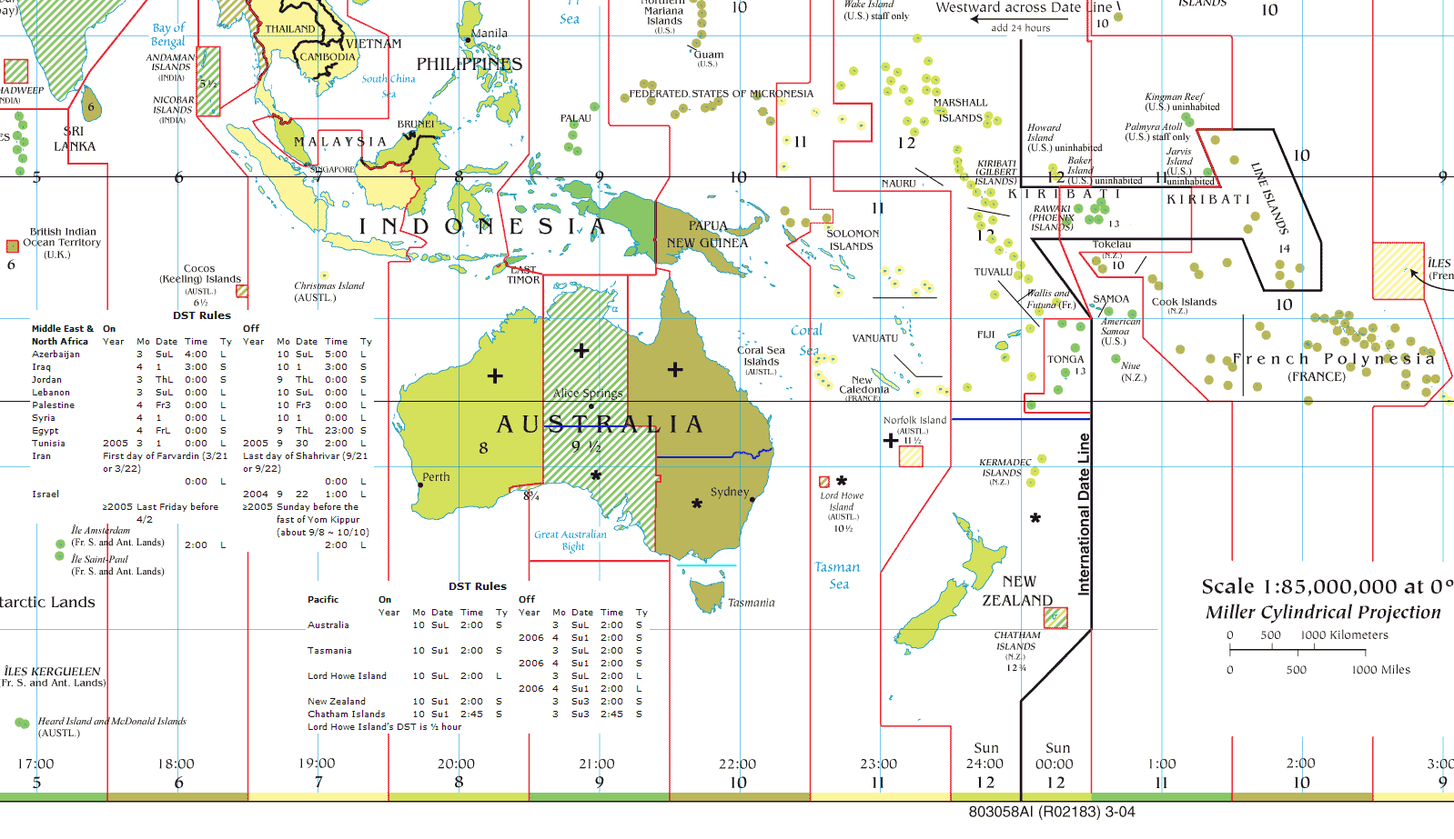 Oceania time zones