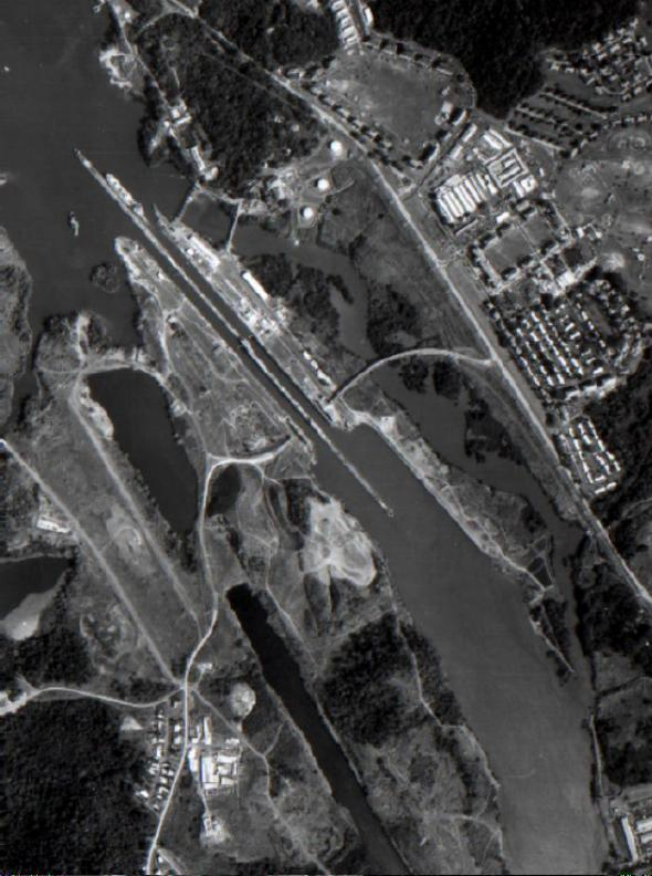 Satellite Image, Photo Miraflores Lock, Panama Canal