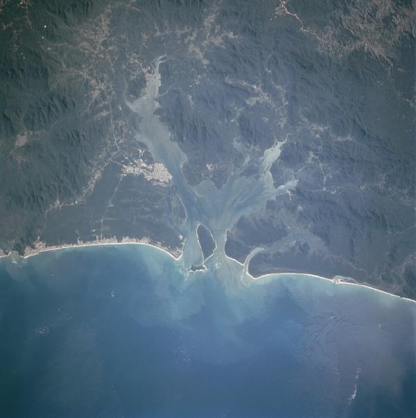 Satellite Image, Photo of Paranagua Bay & City, Parana State, Brazil