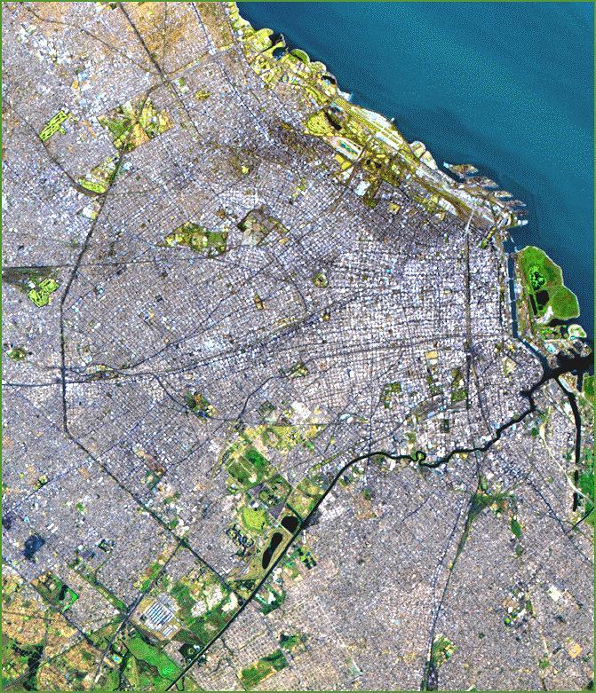 Satellite Image, Photo of Buenos Aires, Argentina