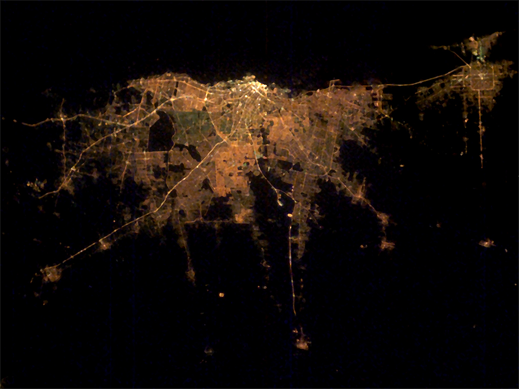 Satellite Image, Photo of Buenos Aires at Night, Argentina