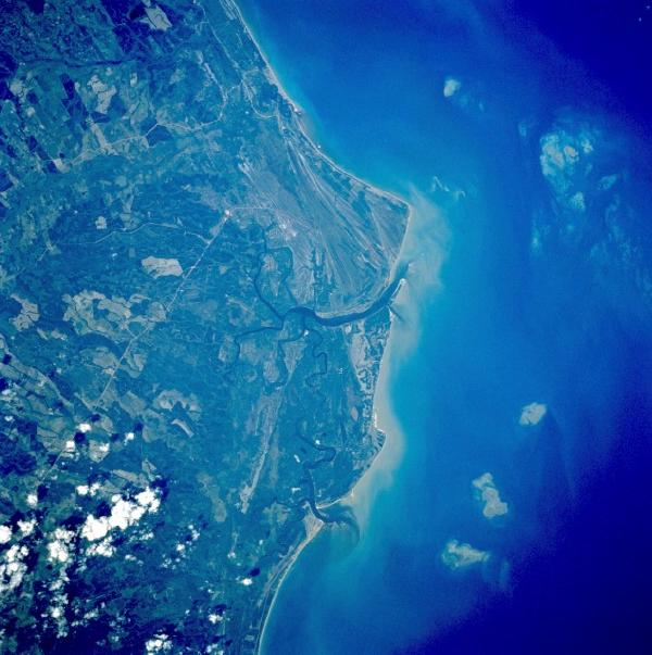 Satellite Image, Photo, Town & Bay of Caravelas, Brazil