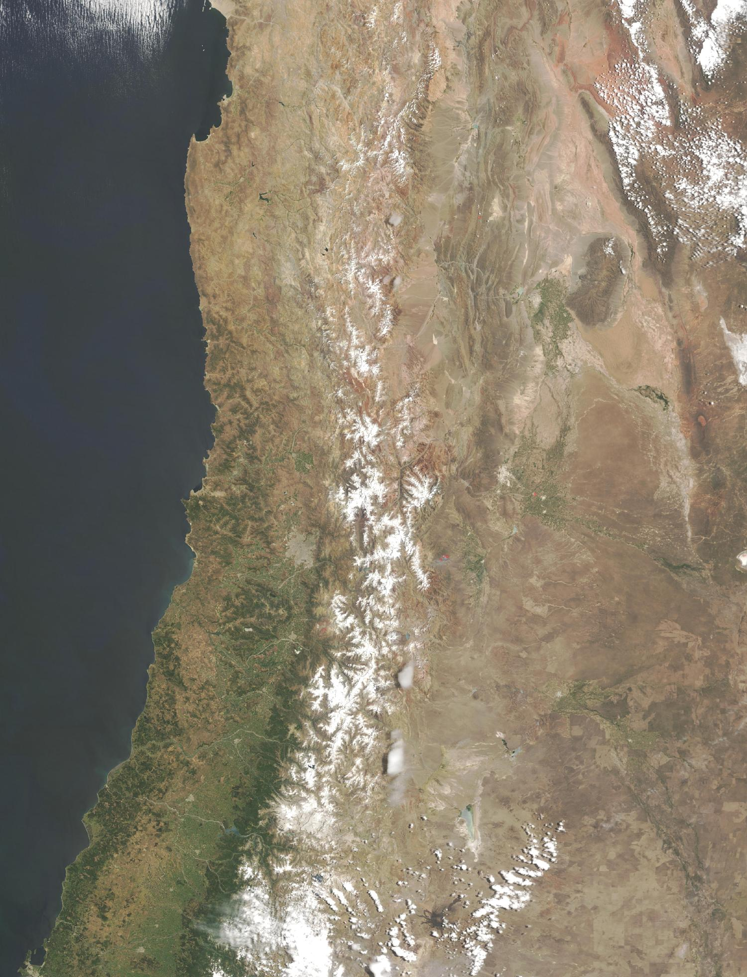 Satellite Image, Photo of Central Chile