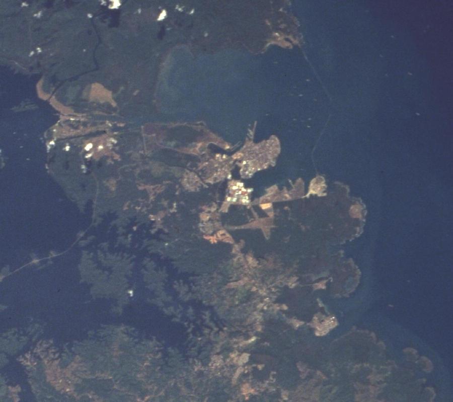 Satellite Image, Photo of Colón City, Panama