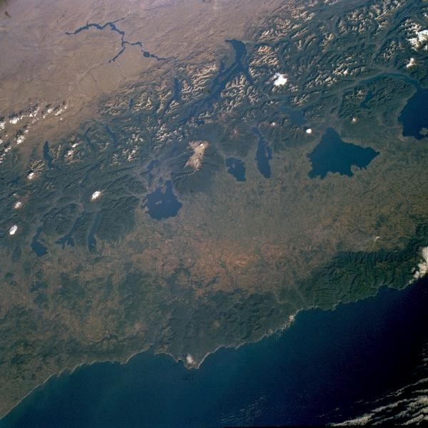 Satellite Image, Photo of Andes Mountains and Lakes of Southern Chile