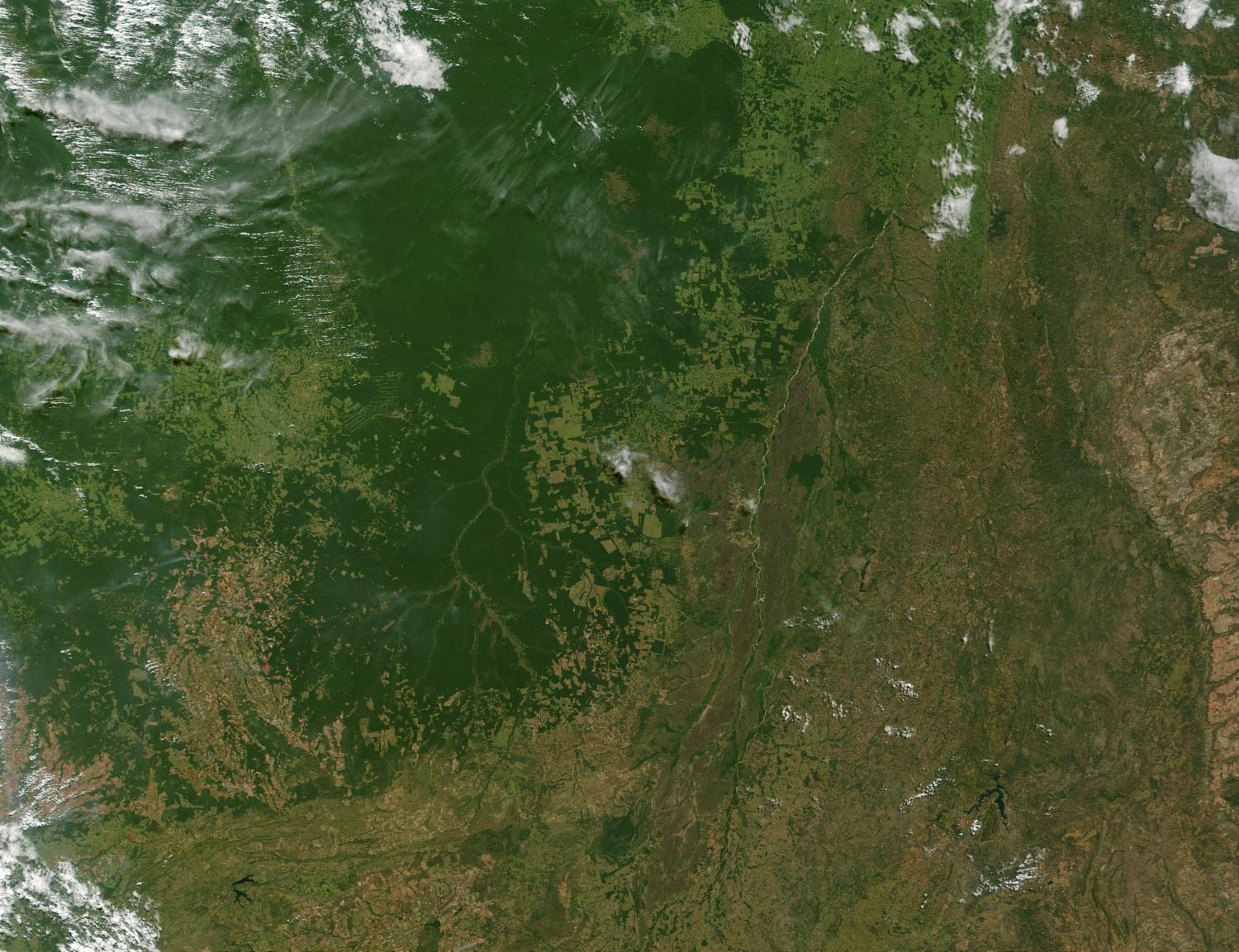Satellite Image, Photo of Deforestation and Fires, Mato Grasso State, Brazil