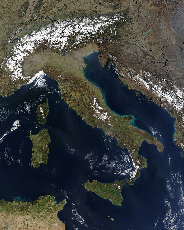 Imagen, Foto Satelite de Italia