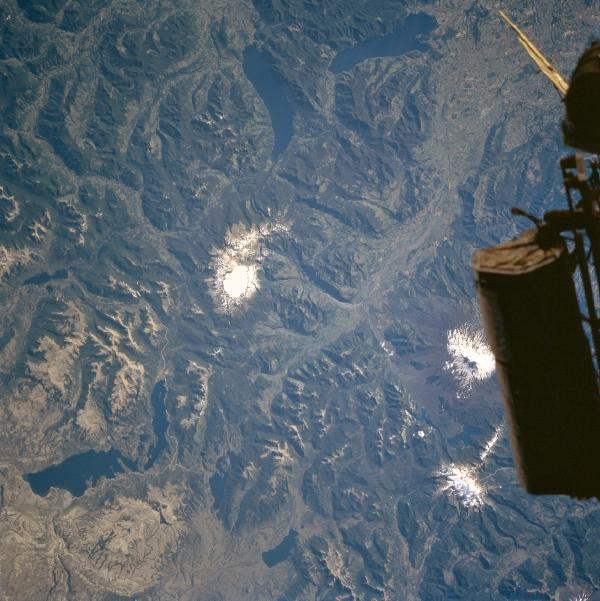 Satellite Image, Photo of Lakes Alumine, Caburgua and Colico, Chile