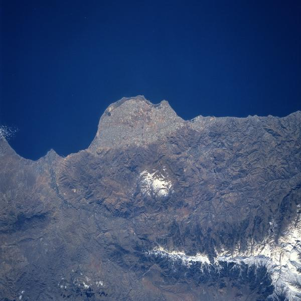 Satellite Image, Photo of Almeria Peninsula, Sierras de Gador and Nevada, Spain