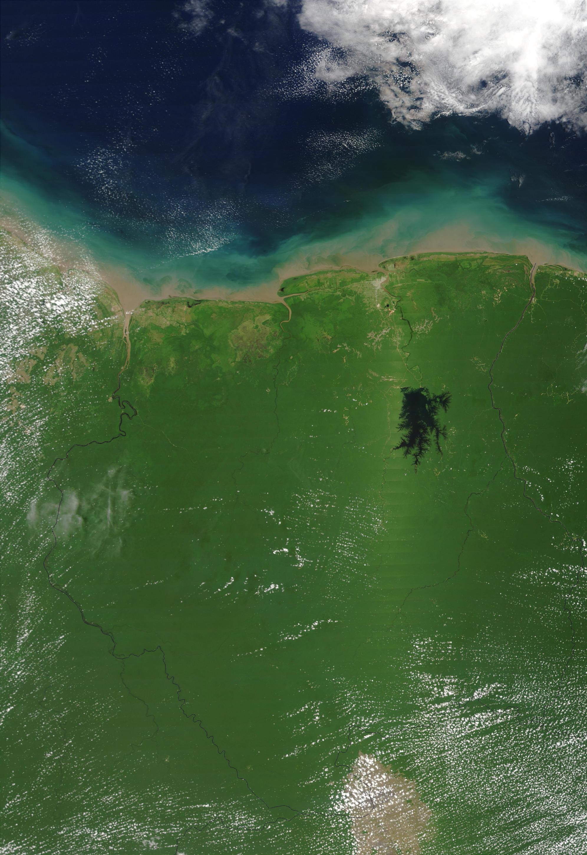Imagen, Foto Satelite de Suriname, America del Sur