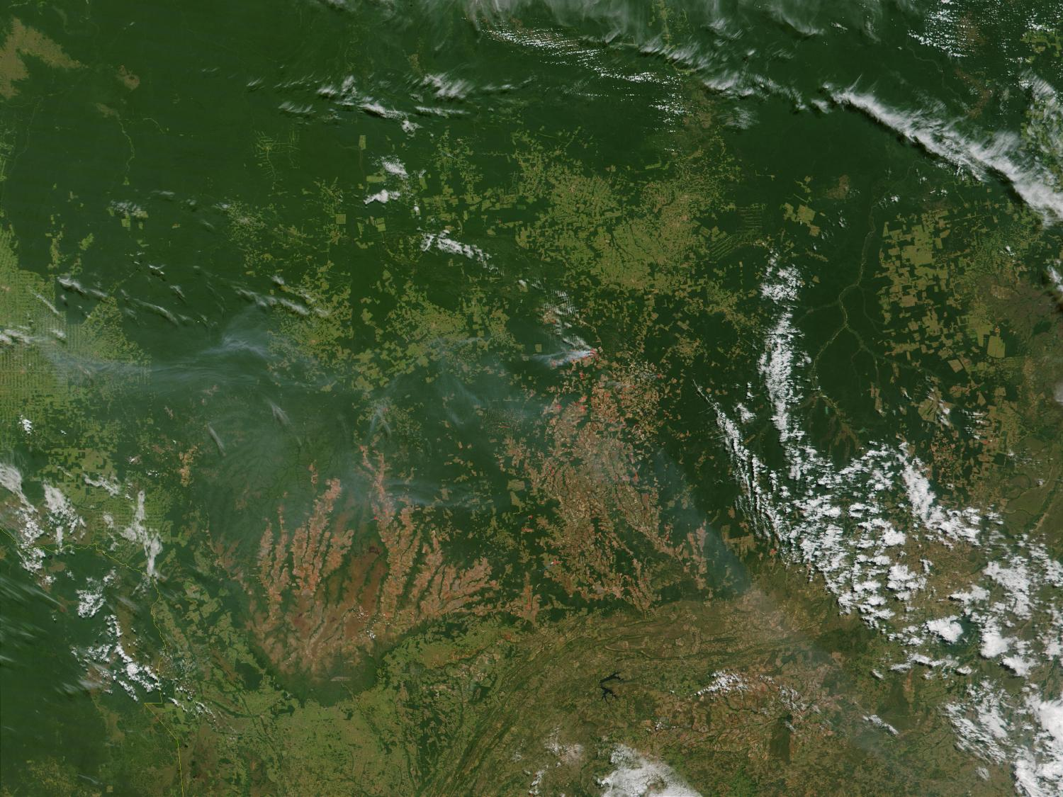 Satellite Image, Photo of Several Fires in Mato Grasso State, Brazil