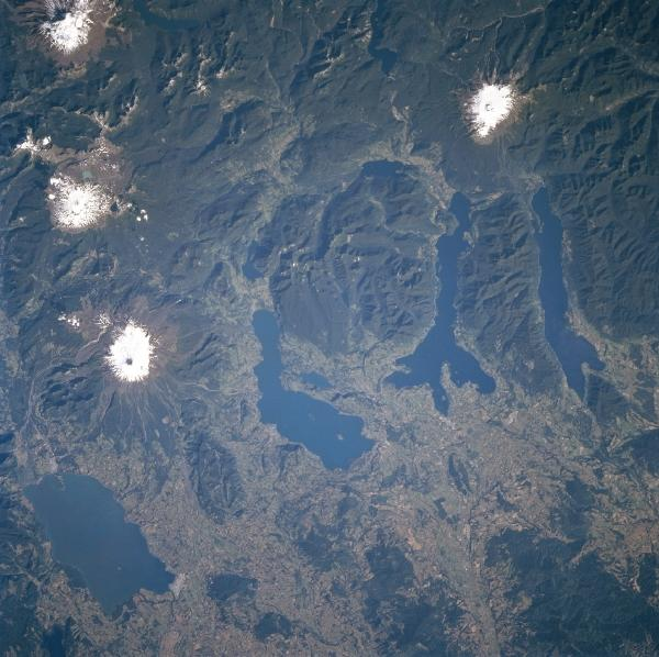 Satellite Image, Photo of Lakes Villarrica, Calafquen, Panguipulli and Rnihue, Chile