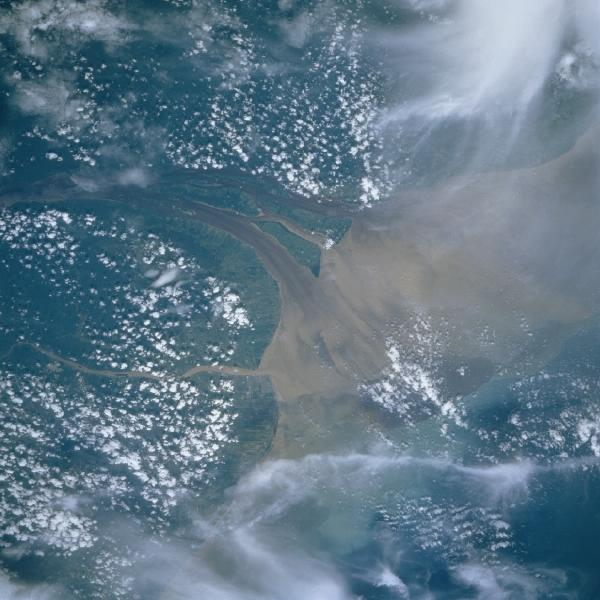 Imagen, Foto Satelite de la Boca del Rio Essequibo, Georgetown, Guyana