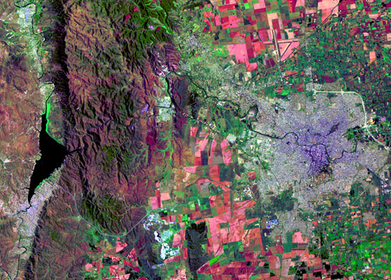 Satellite Image, Photo of Córdoba City, Prov. Córdoba, Argentina