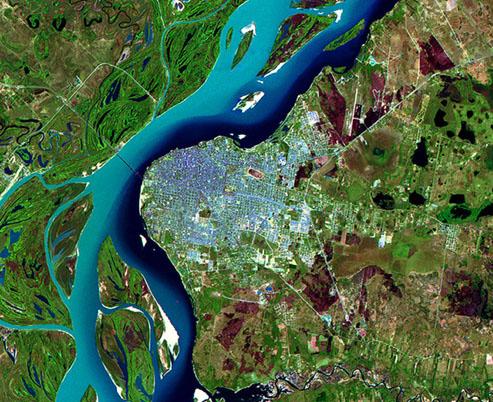 Imagen, Foto Satelite de la Ciudad de Córrientes, Prov. Córrientes, Argentina