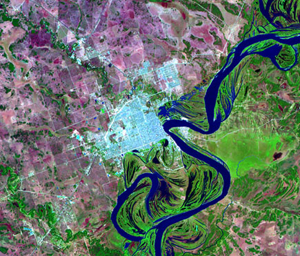 Satellite Image, Photo of Formosa City, Prov. Formosa, Argentina